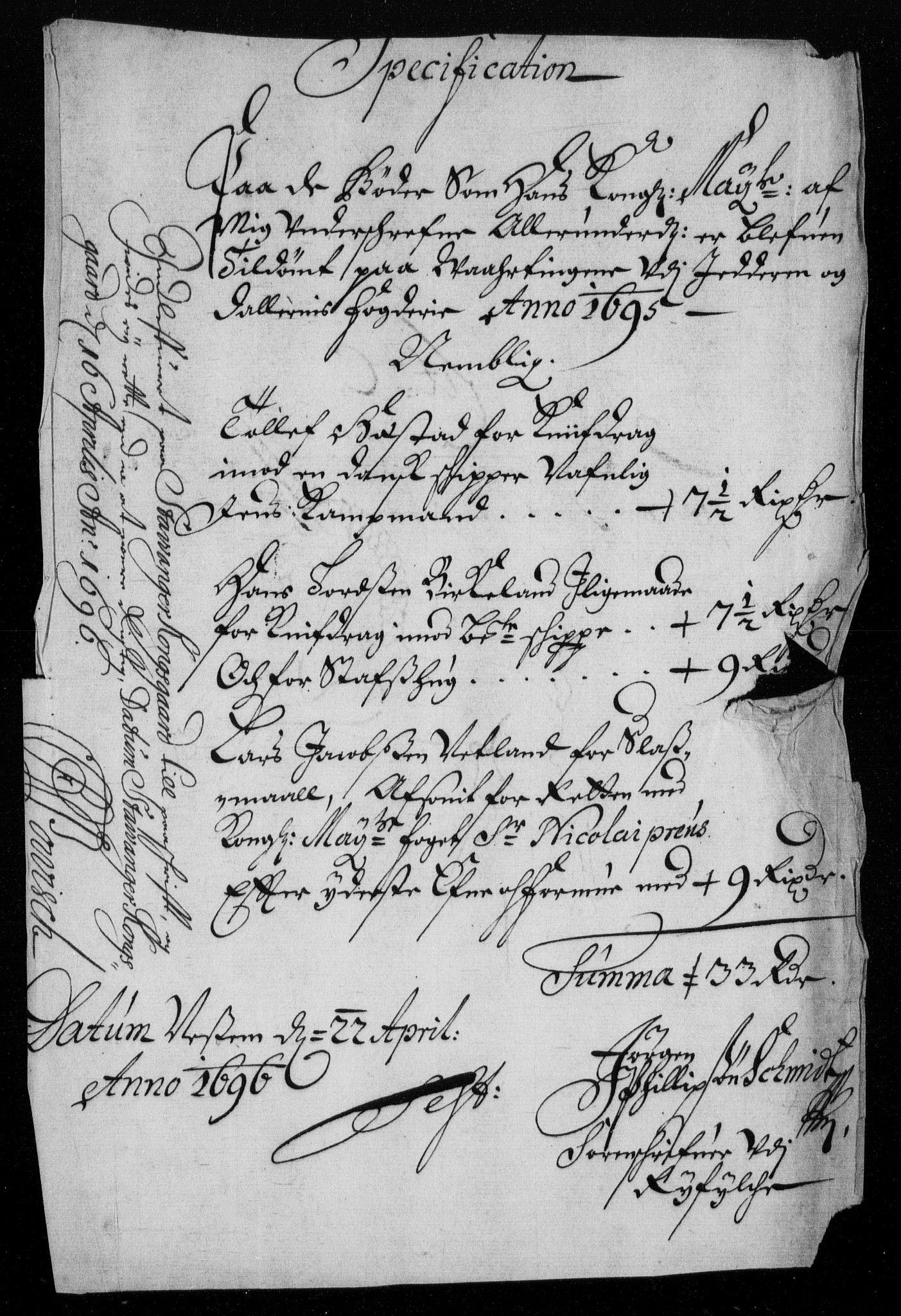 RA, Rentekammeret inntil 1814, Reviderte regnskaper, Fogderegnskap, R46/L2728: Fogderegnskap Jæren og Dalane, 1694-1696, s. 252