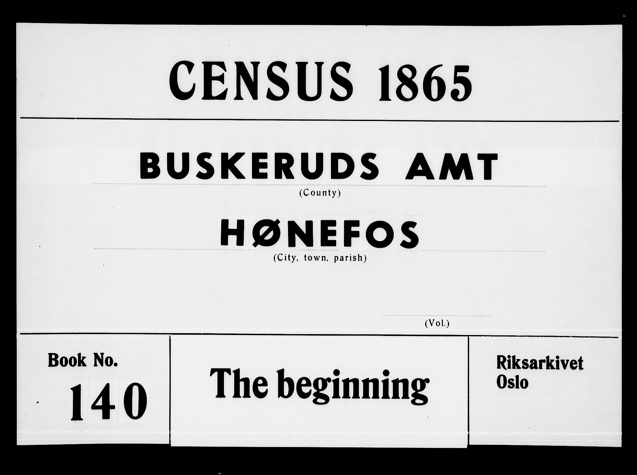 RA, Folketelling 1865 for 0601B Norderhov prestegjeld, Hønefoss kjøpstad, 1865, s. 1