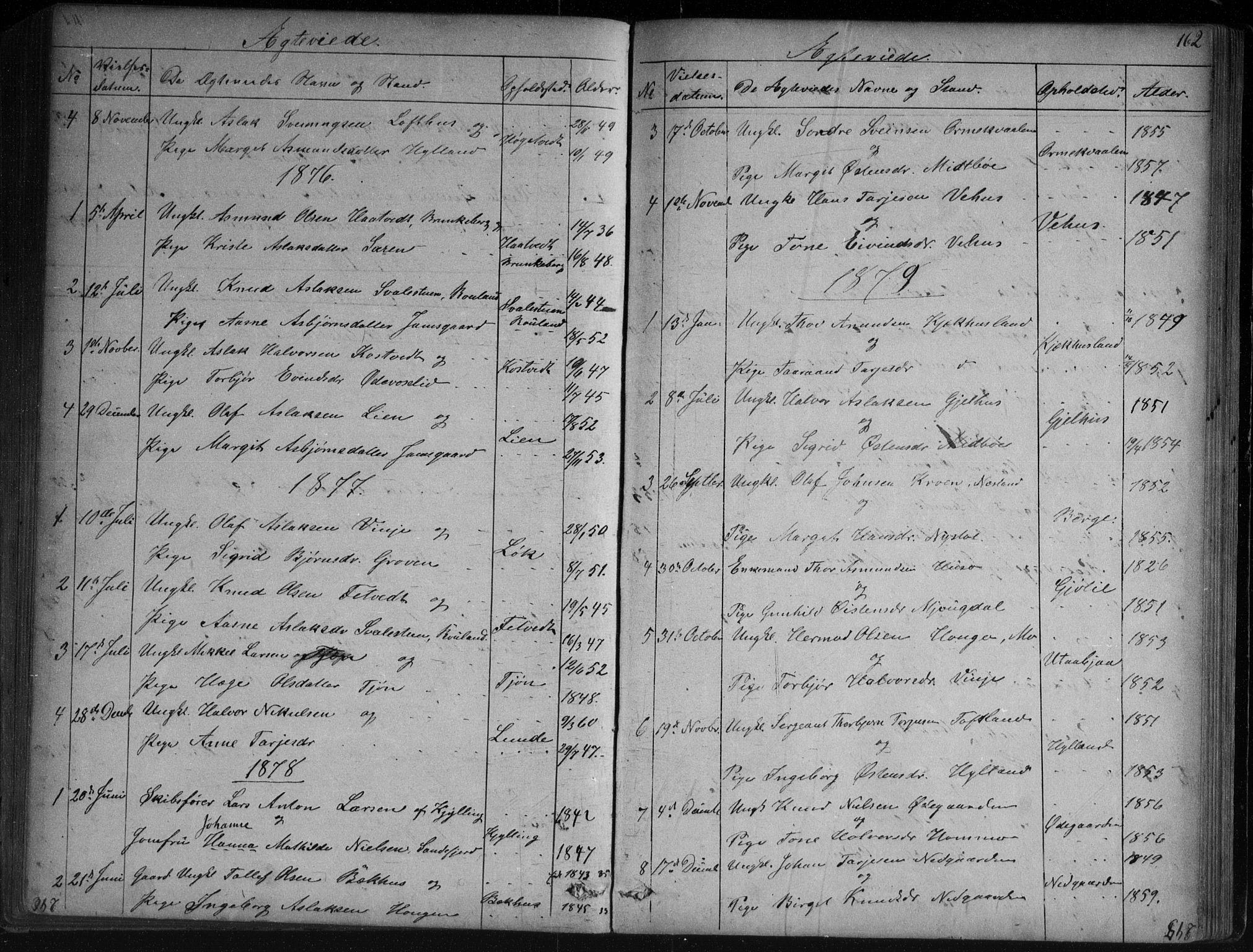 SAKO, Vinje kirkebøker, G/Ga/L0002: Klokkerbok nr. I 2, 1849-1893, s. 162