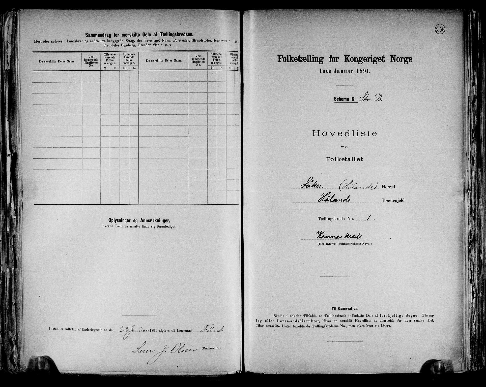 RA, Folketelling 1891 for 0221 Høland herred, 1891, s. 6