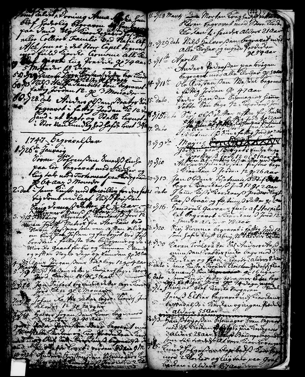 SAKO, Skien kirkebøker, F/Fa/L0002: Ministerialbok nr. 2, 1716-1757, s. 222