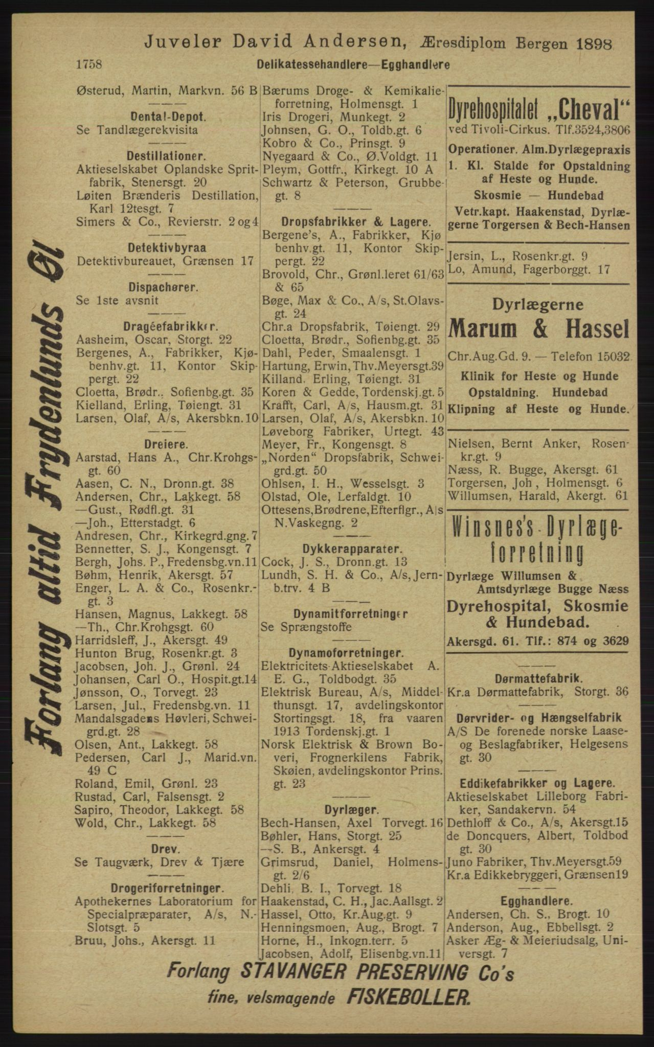 RA, Kristiania adressebok (publikasjon)*, 1913, s. 1758