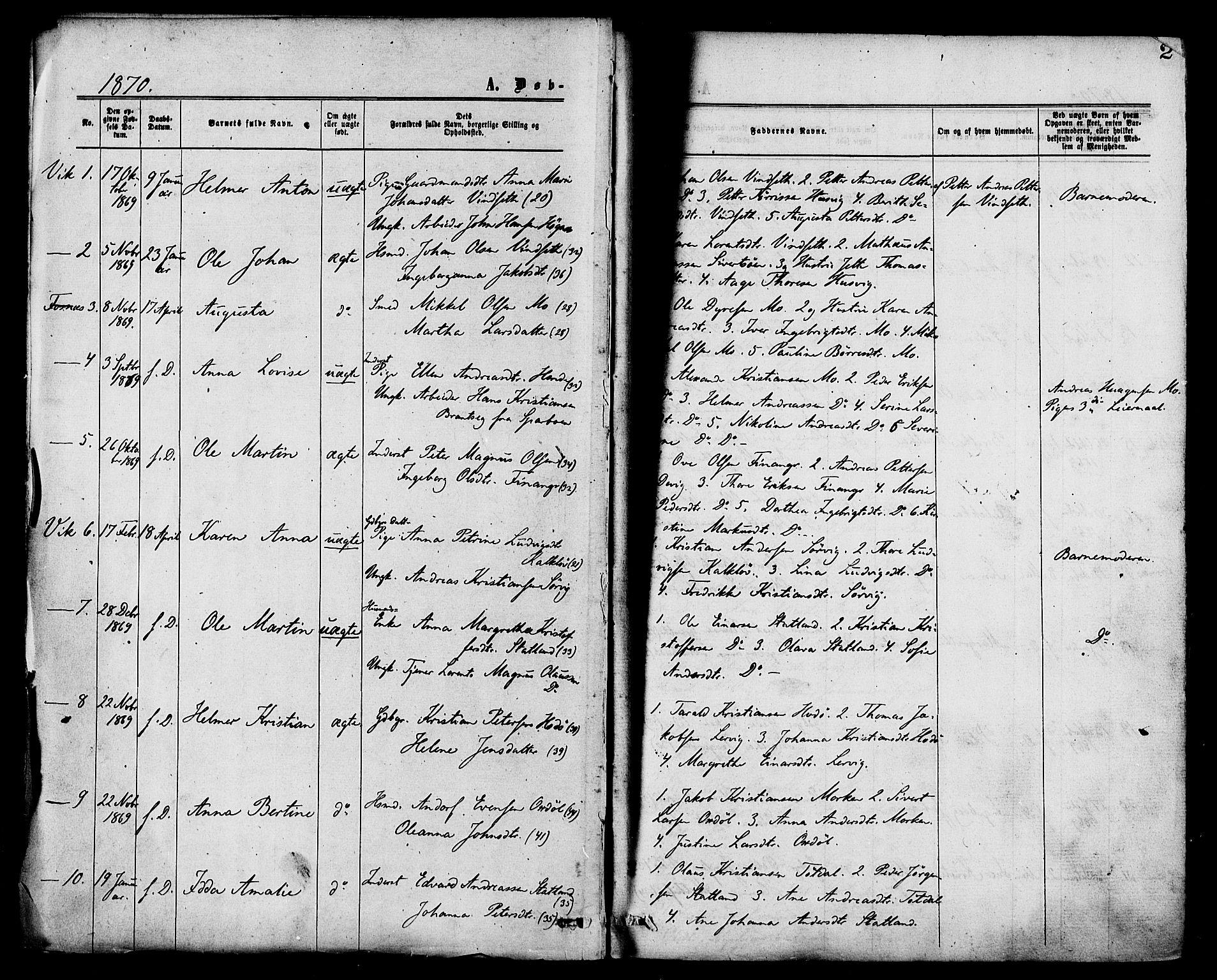 SAT, Ministerialprotokoller, klokkerbøker og fødselsregistre - Nord-Trøndelag, 773/L0616: Ministerialbok nr. 773A07, 1870-1887, s. 2