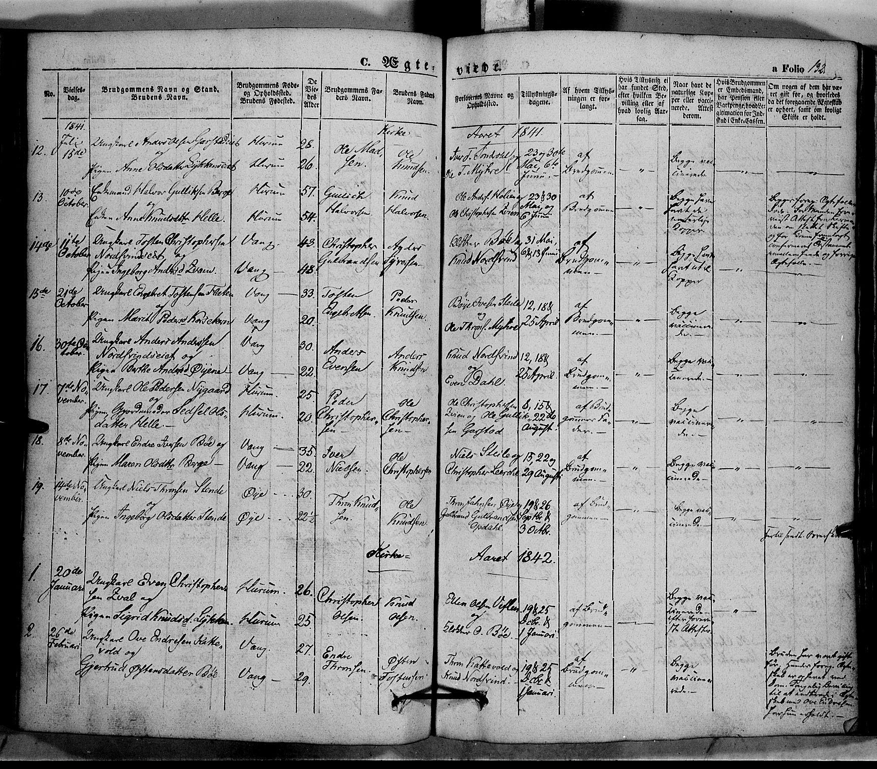 SAH, Vang prestekontor, Valdres, Ministerialbok nr. 5, 1831-1845, s. 132