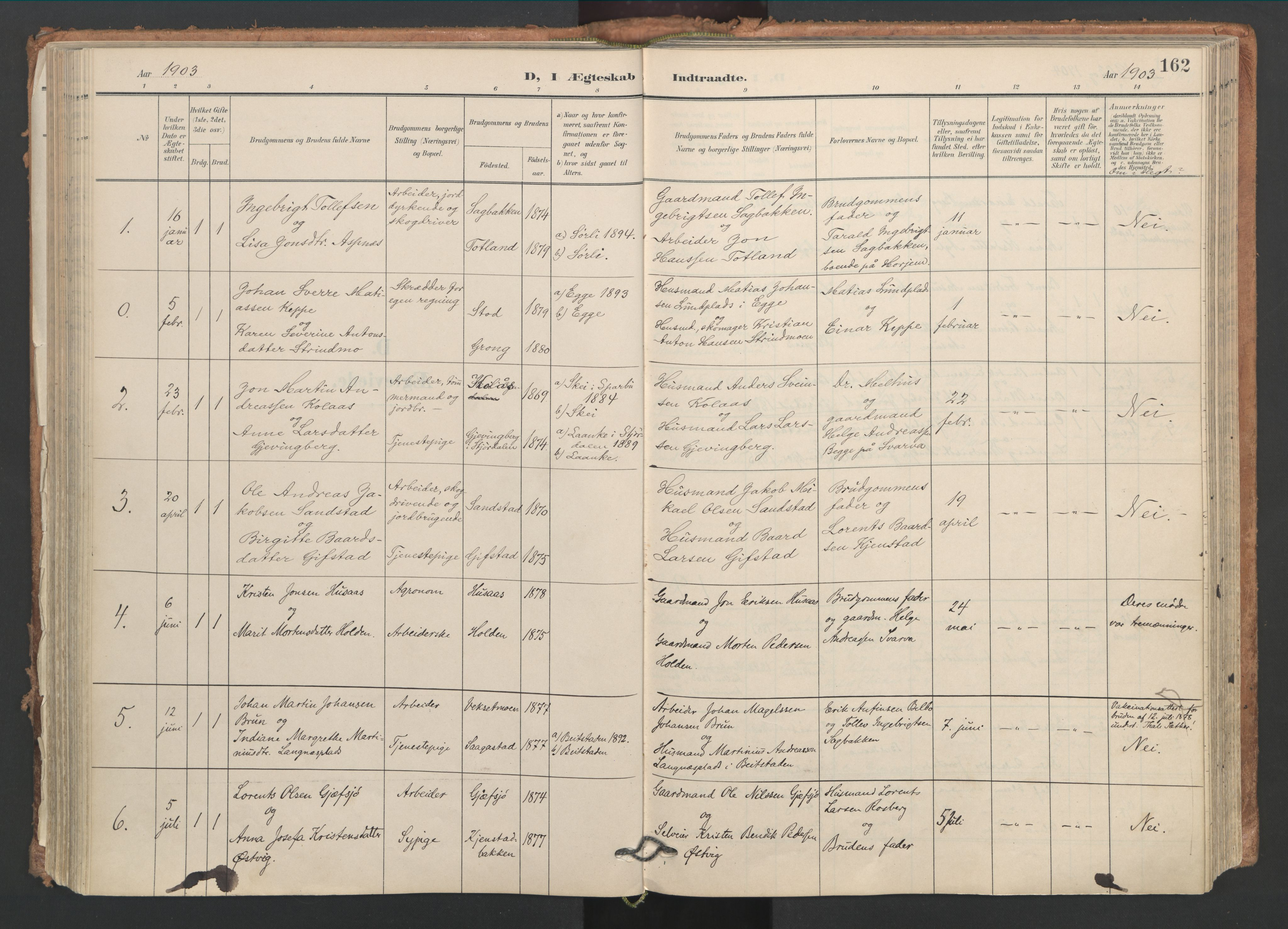 SAT, Ministerialprotokoller, klokkerbøker og fødselsregistre - Nord-Trøndelag, 749/L0477: Ministerialbok nr. 749A11, 1902-1927, s. 162