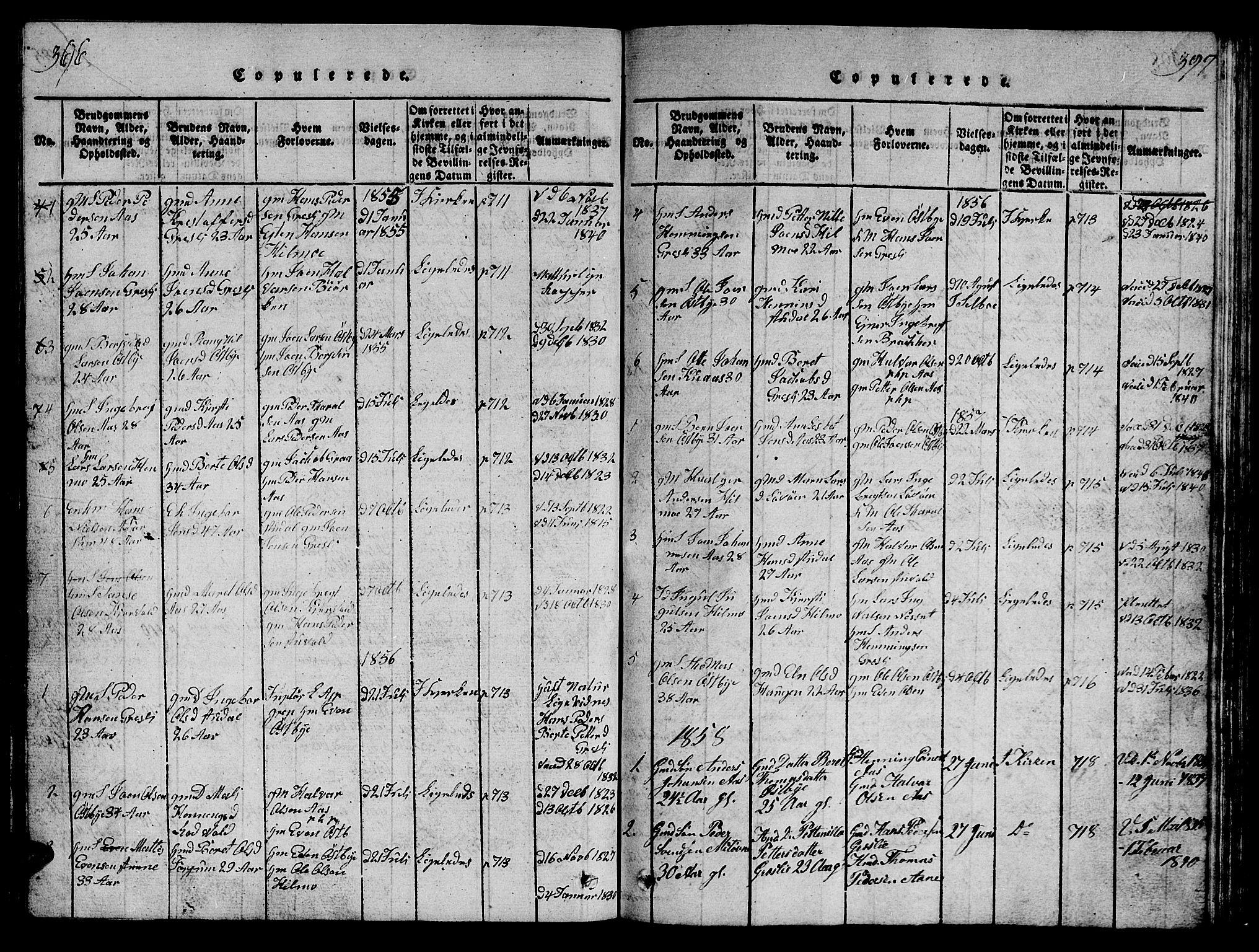 SAT, Ministerialprotokoller, klokkerbøker og fødselsregistre - Sør-Trøndelag, 698/L1164: Klokkerbok nr. 698C01, 1816-1861, s. 396-397