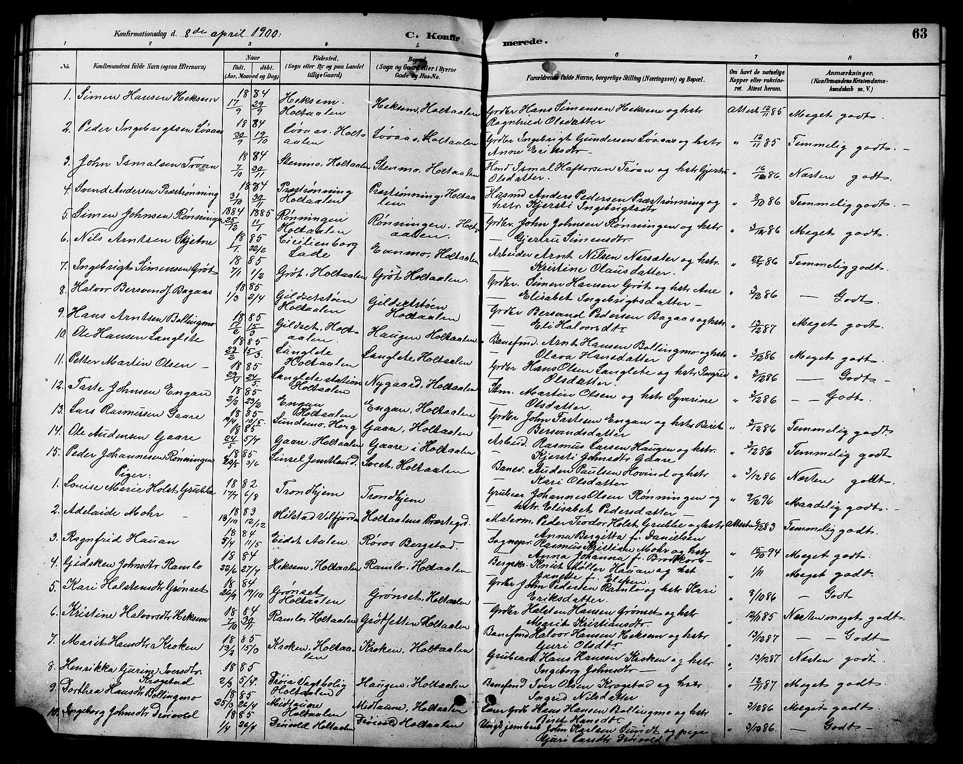SAT, Ministerialprotokoller, klokkerbøker og fødselsregistre - Sør-Trøndelag, 685/L0978: Klokkerbok nr. 685C03, 1891-1907, s. 63