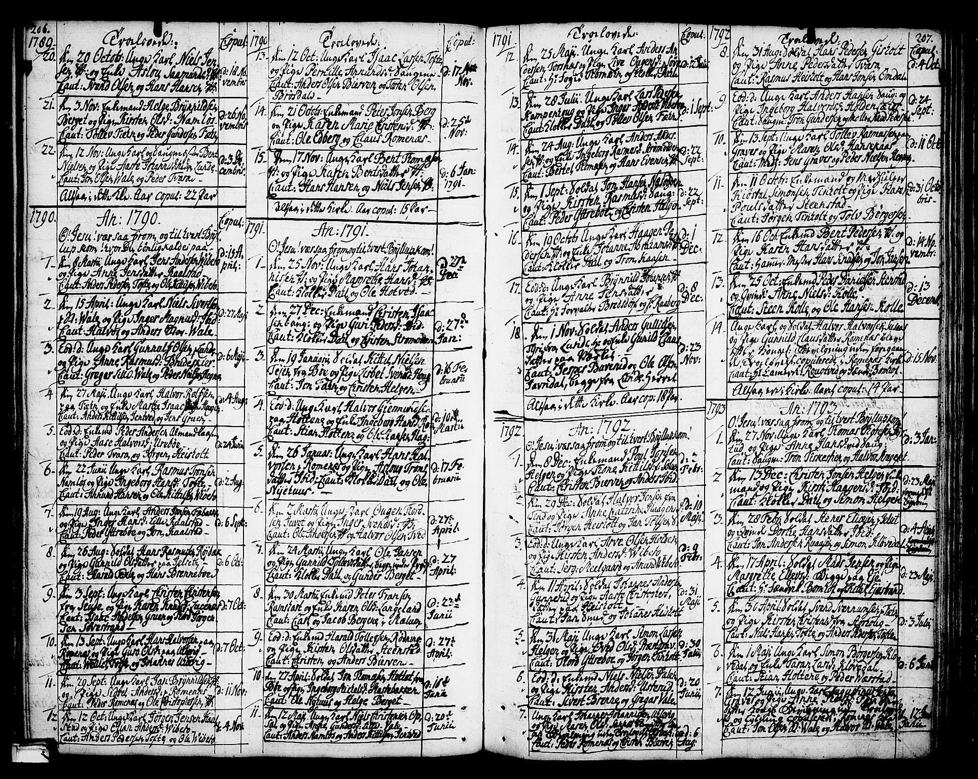 SAKO, Holla kirkebøker, F/Fa/L0002: Ministerialbok nr. 2, 1779-1814, s. 206-207
