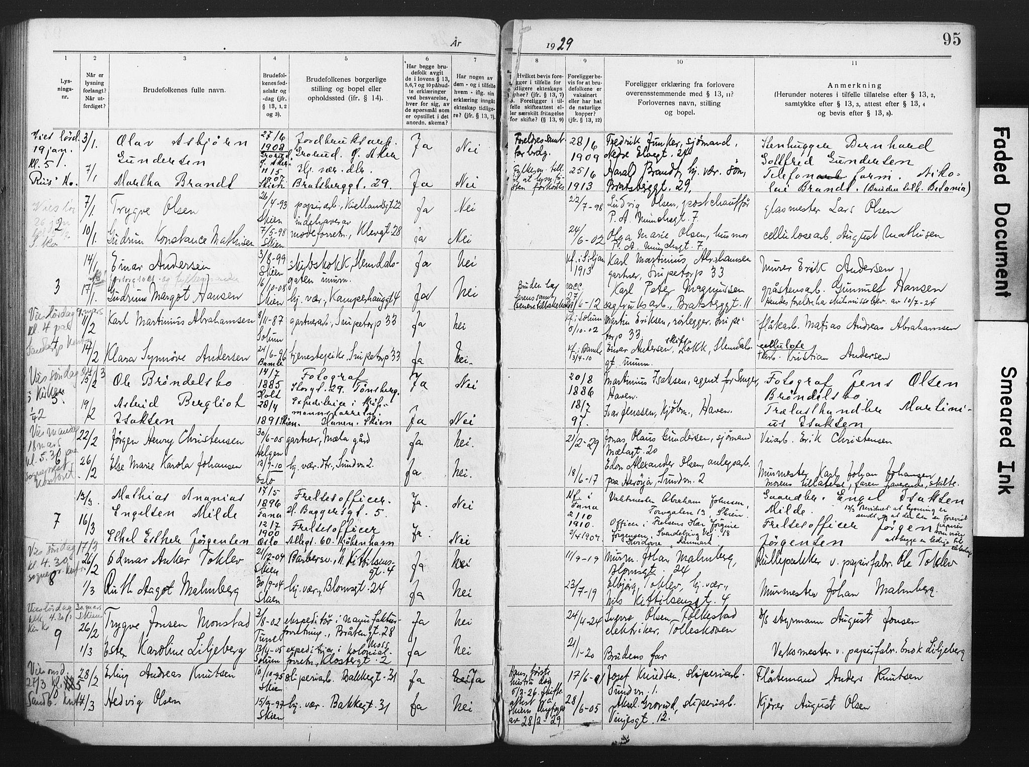 SAKO, Skien kirkebøker, H/Ha/L0001: Lysningsprotokoll nr. 1, 1919-1929, s. 95