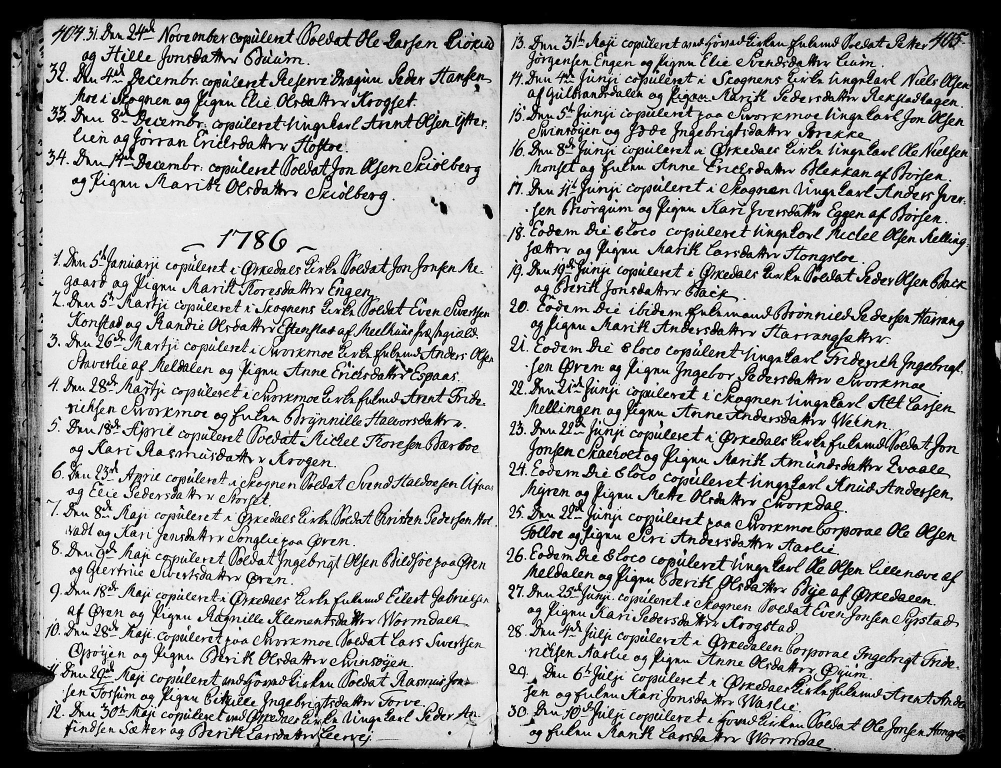 SAT, Ministerialprotokoller, klokkerbøker og fødselsregistre - Sør-Trøndelag, 668/L0802: Ministerialbok nr. 668A02, 1776-1799, s. 404-405