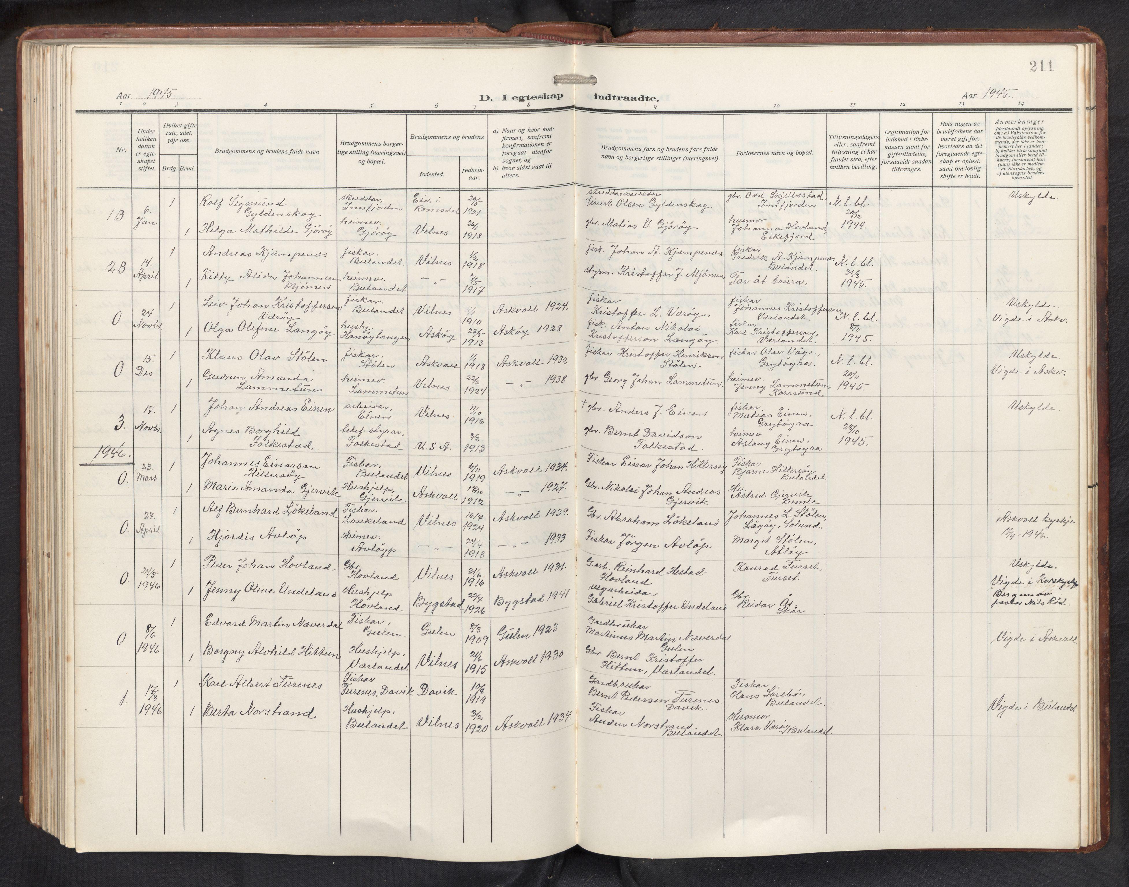 SAB, Askvoll sokneprestembete, H/Hab/Habb/L0002: Klokkerbok nr. B 2, 1910-1947, s. 210b-211a