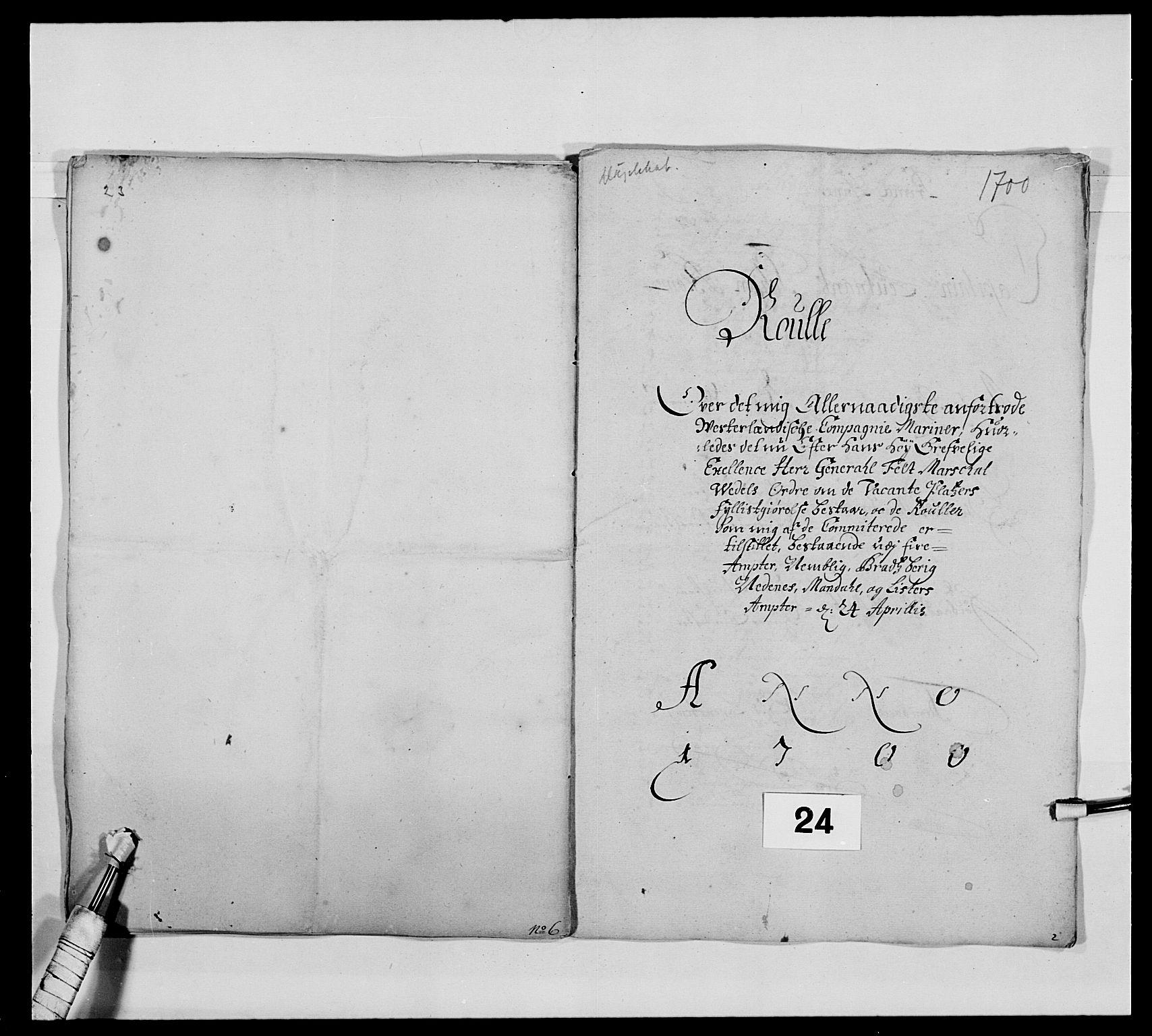 RA, Kommanderende general (KG I) med Det norske krigsdirektorium, E/Ea/L0473: Marineregimentet, 1664-1700, s. 281