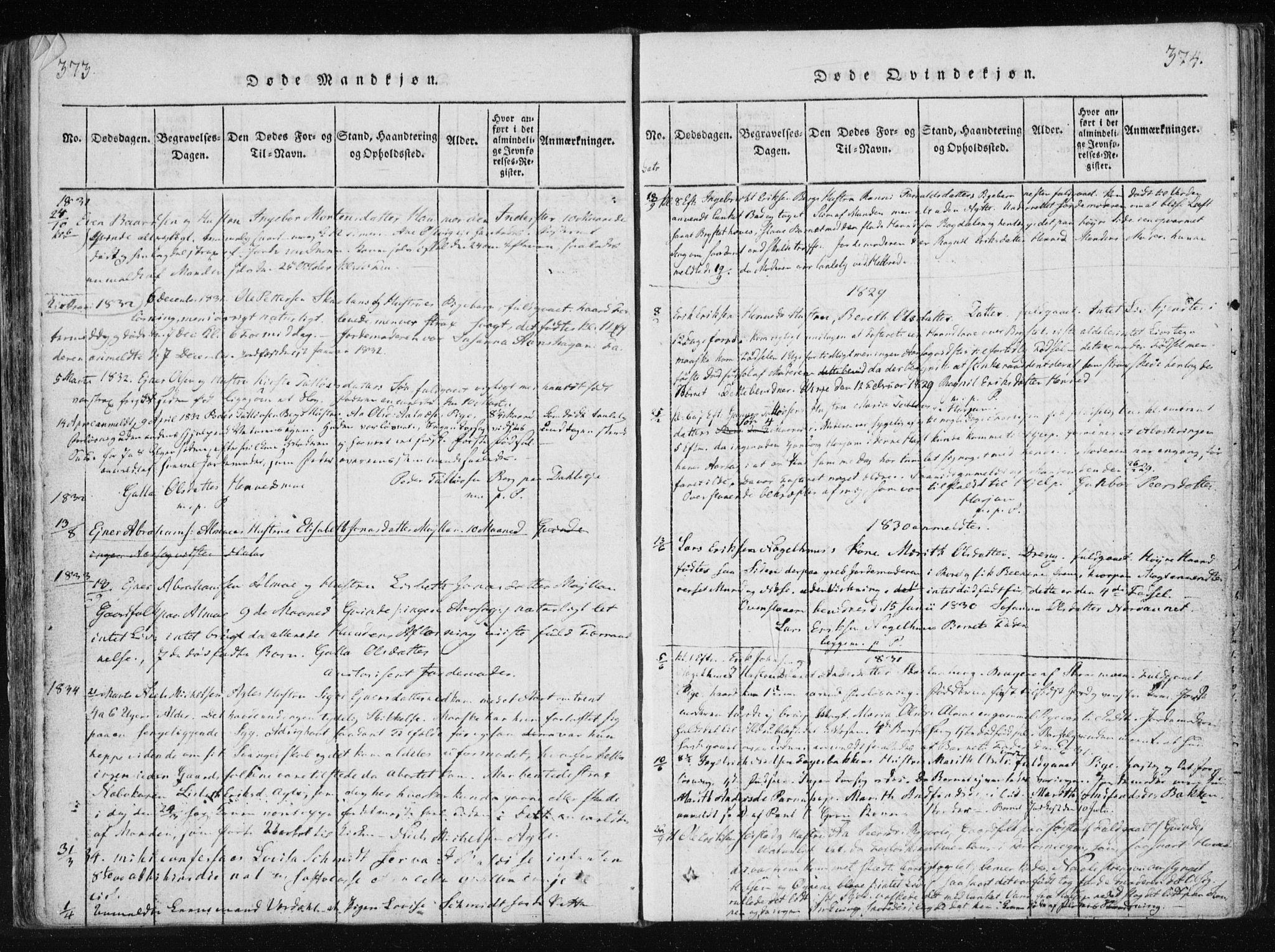 SAT, Ministerialprotokoller, klokkerbøker og fødselsregistre - Nord-Trøndelag, 749/L0469: Ministerialbok nr. 749A03, 1817-1857, s. 373-374