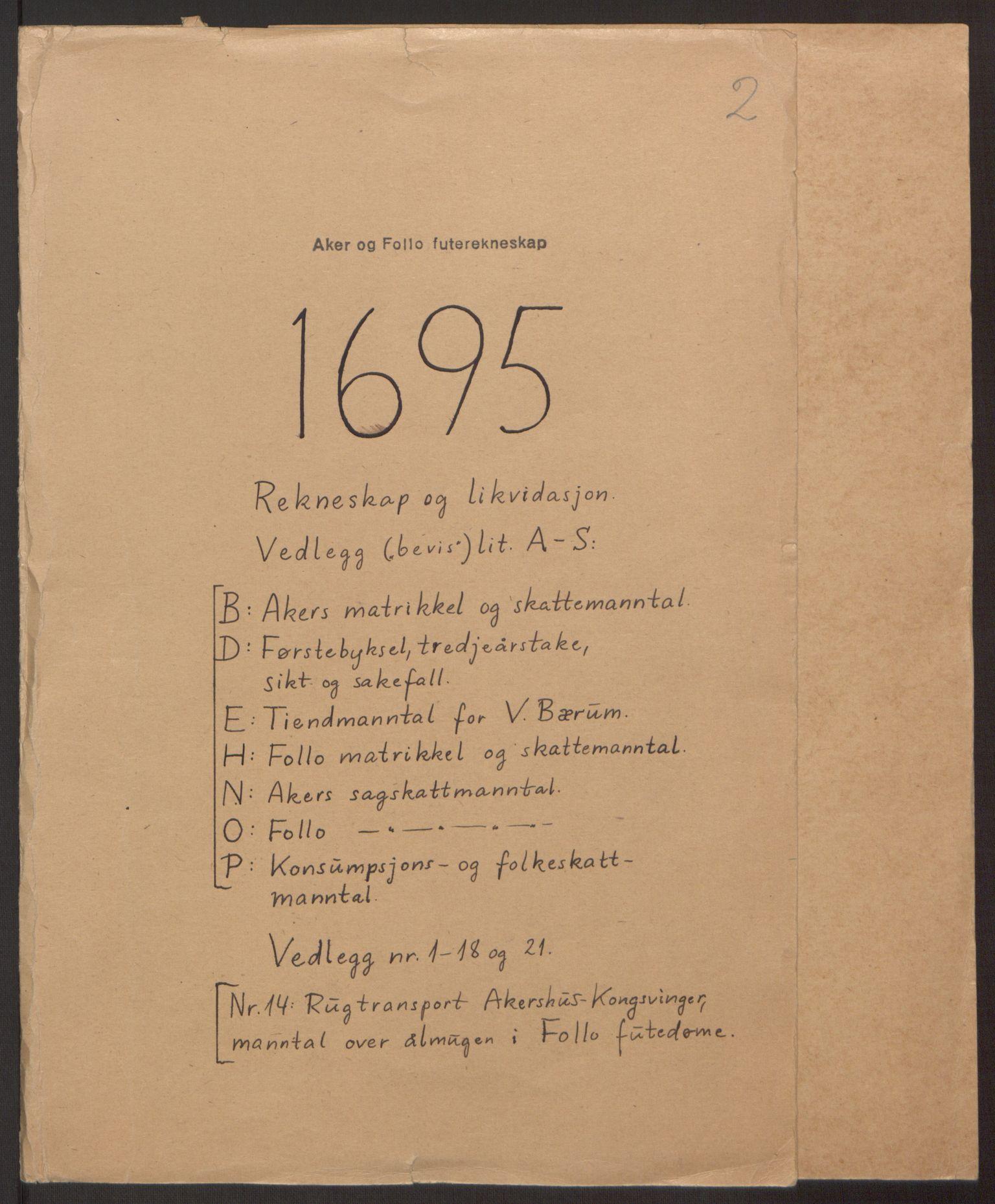 RA, Rentekammeret inntil 1814, Reviderte regnskaper, Fogderegnskap, R10/L0439: Fogderegnskap Aker og Follo, 1695, s. 1