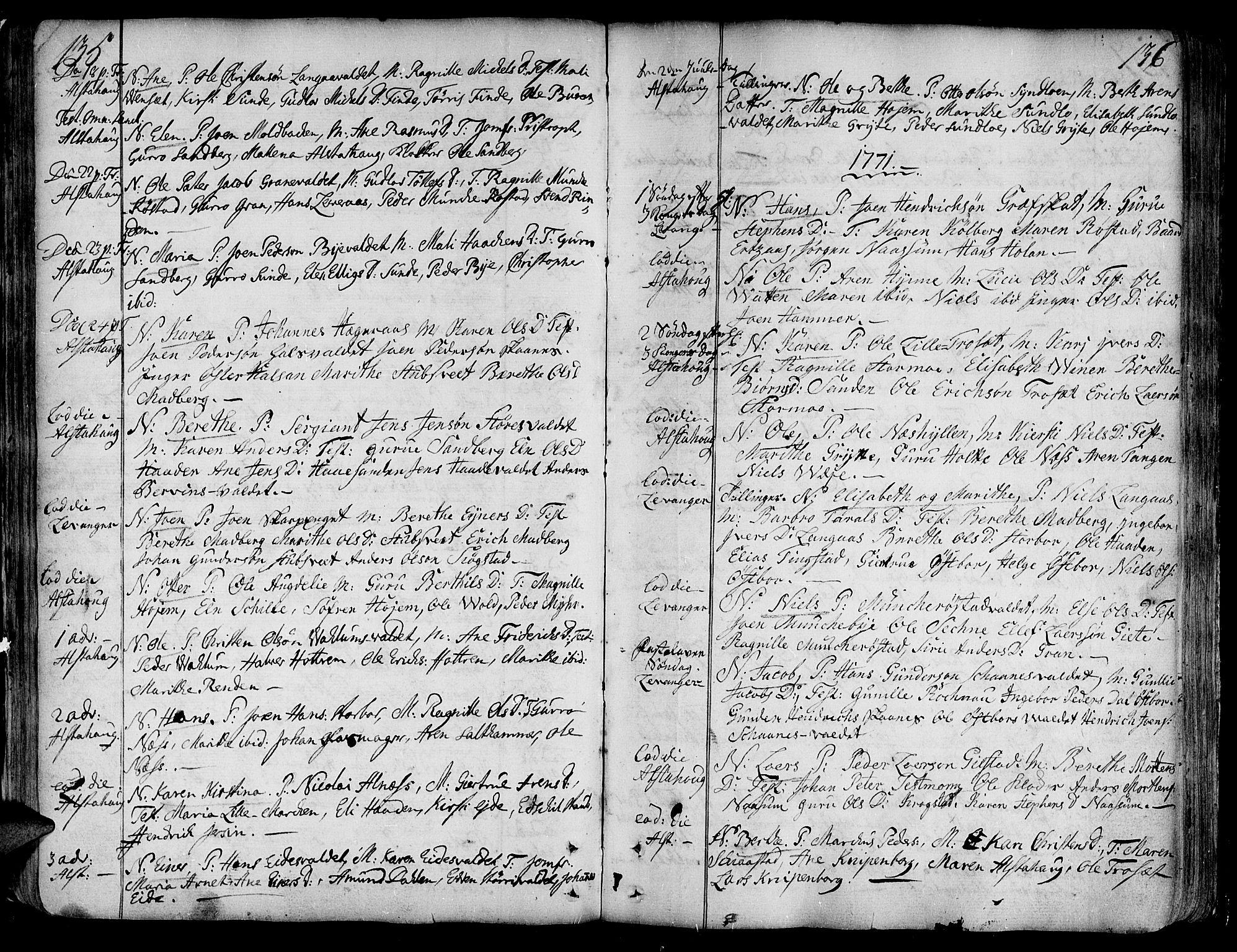 SAT, Ministerialprotokoller, klokkerbøker og fødselsregistre - Nord-Trøndelag, 717/L0141: Ministerialbok nr. 717A01, 1747-1803, s. 135-136