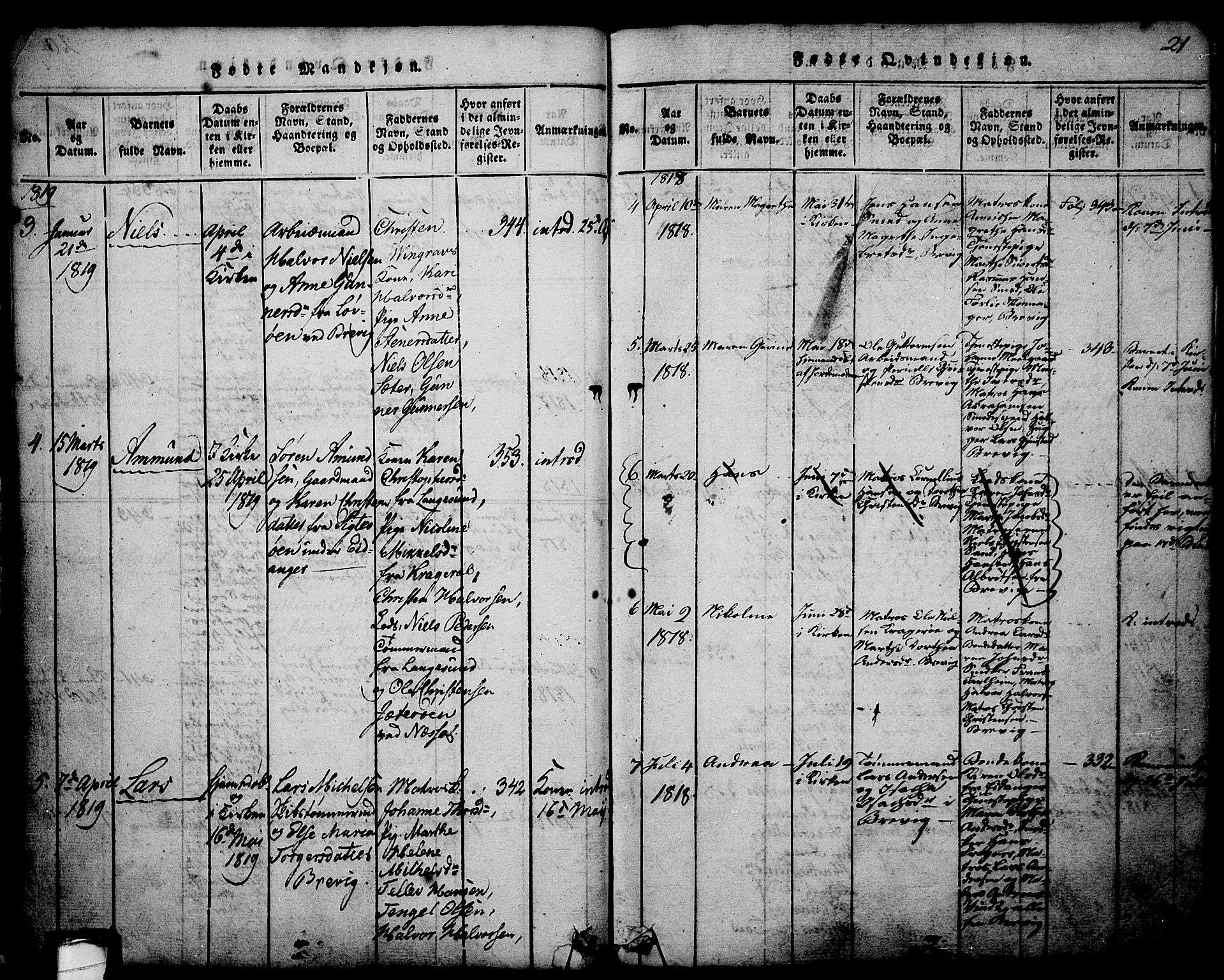 SAKO, Brevik kirkebøker, G/Ga/L0001: Klokkerbok nr. 1, 1814-1845, s. 21