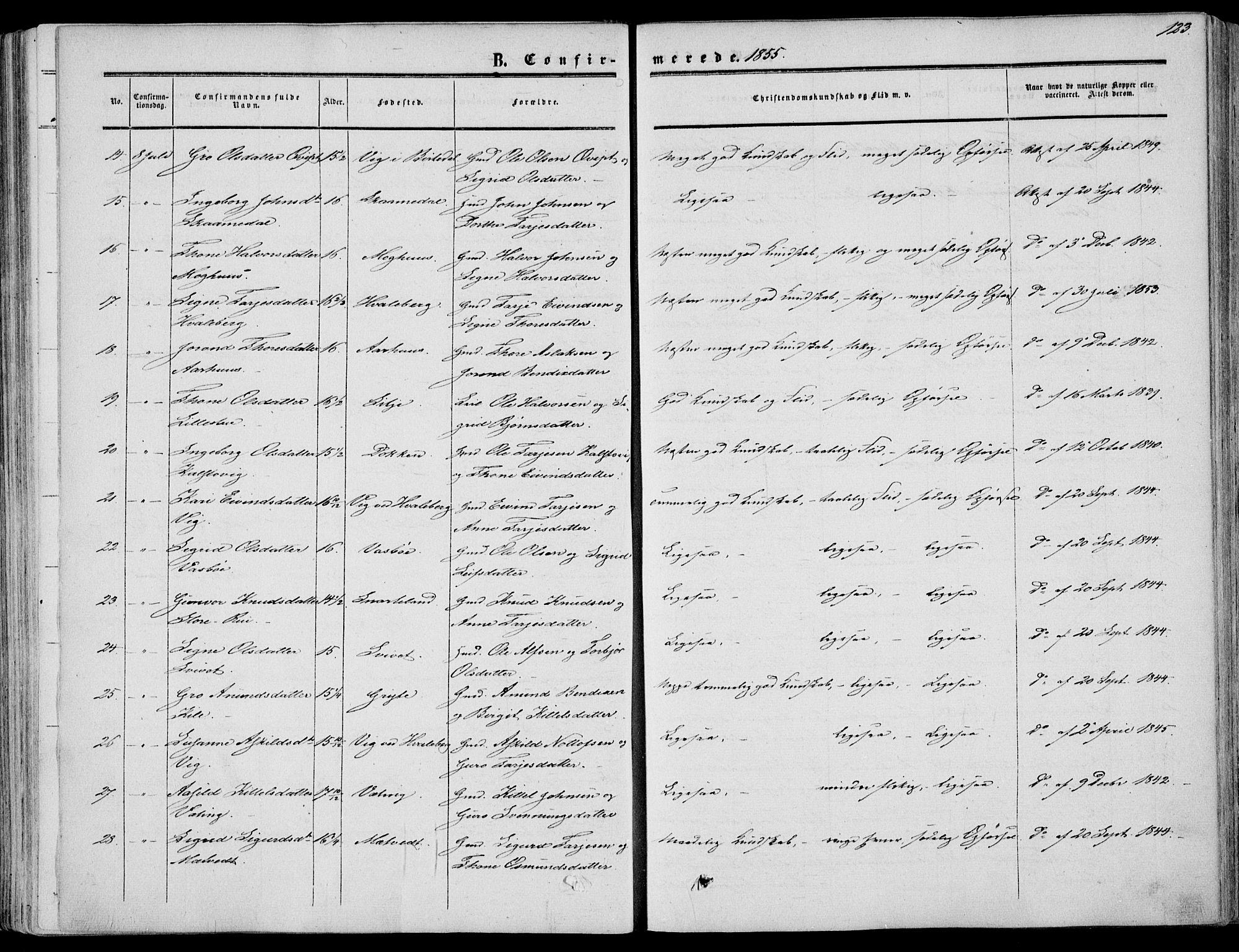 SAKO, Fyresdal kirkebøker, F/Fa/L0005: Ministerialbok nr. I 5, 1855-1871, s. 123