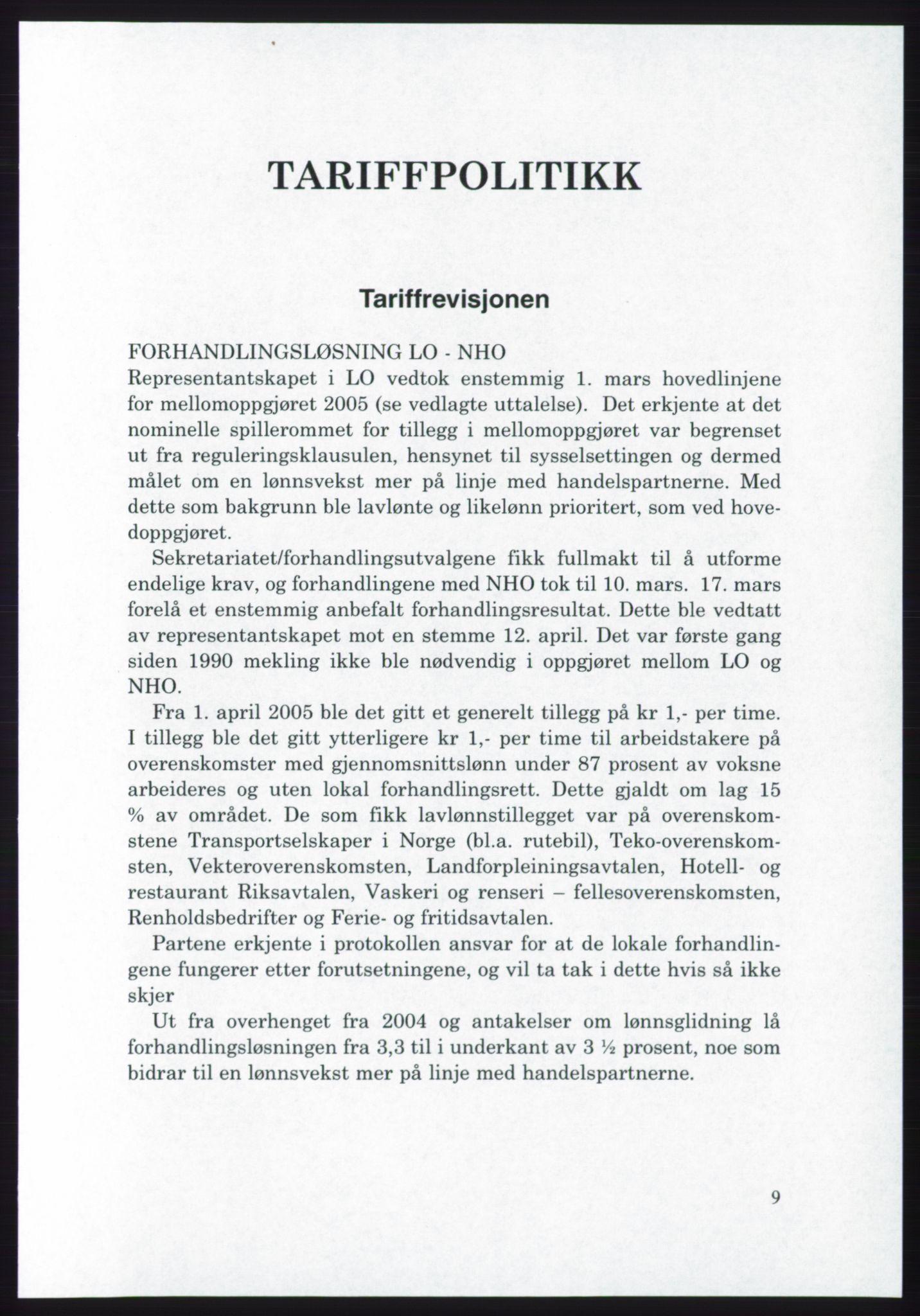 AAB, Landsorganisasjonen i Norge - publikasjoner, -/-: Landsorganisasjonens beretning for 2005, 2005, s. 9