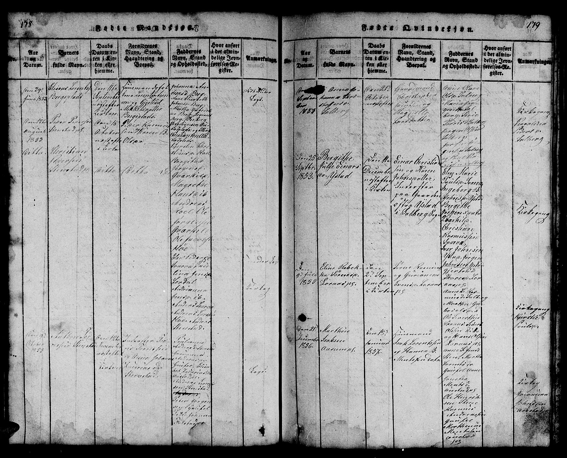 SAT, Ministerialprotokoller, klokkerbøker og fødselsregistre - Nord-Trøndelag, 731/L0310: Klokkerbok nr. 731C01, 1816-1874, s. 178-179