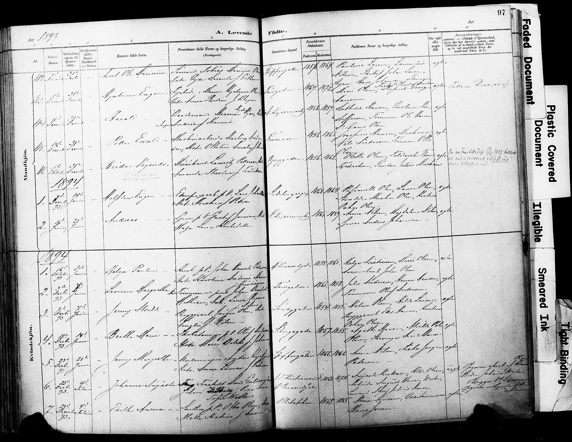 SAKO, Horten kirkebøker, F/Fa/L0004: Ministerialbok nr. 4, 1888-1895, s. 97