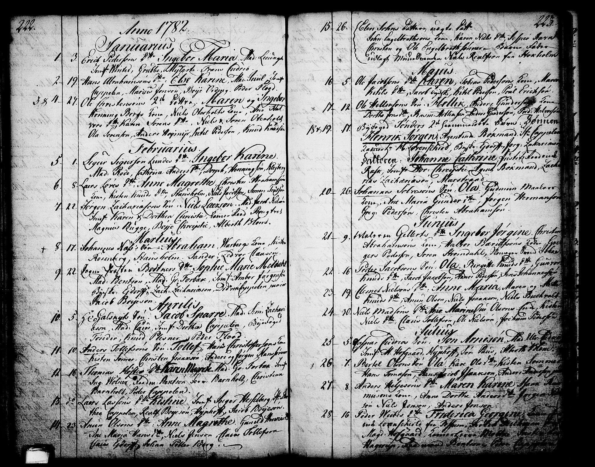 SAKO, Skien kirkebøker, F/Fa/L0003: Ministerialbok nr. 3, 1755-1791, s. 222-223
