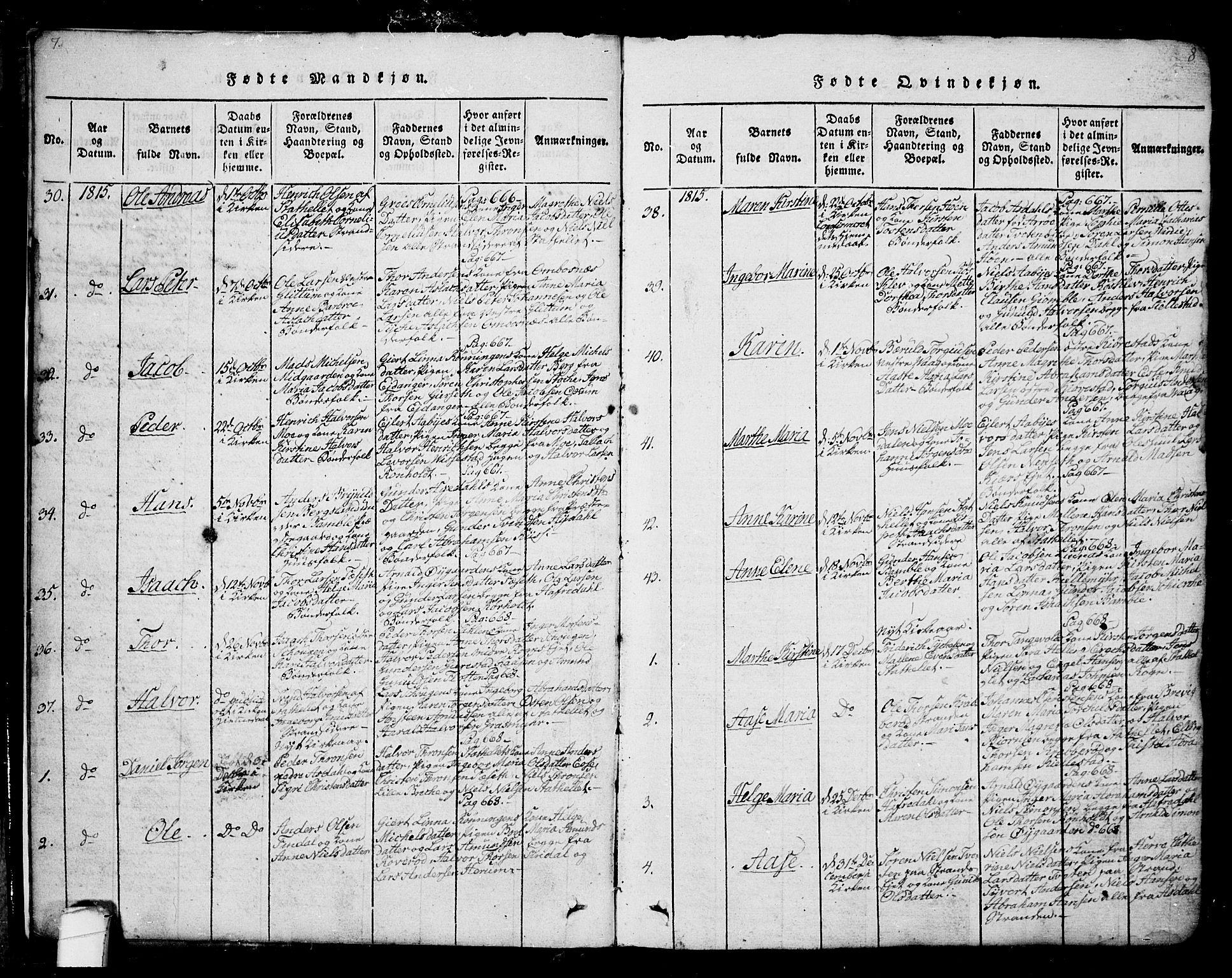 SAKO, Bamble kirkebøker, G/Ga/L0005: Klokkerbok nr. I 5, 1814-1855, s. 7-8