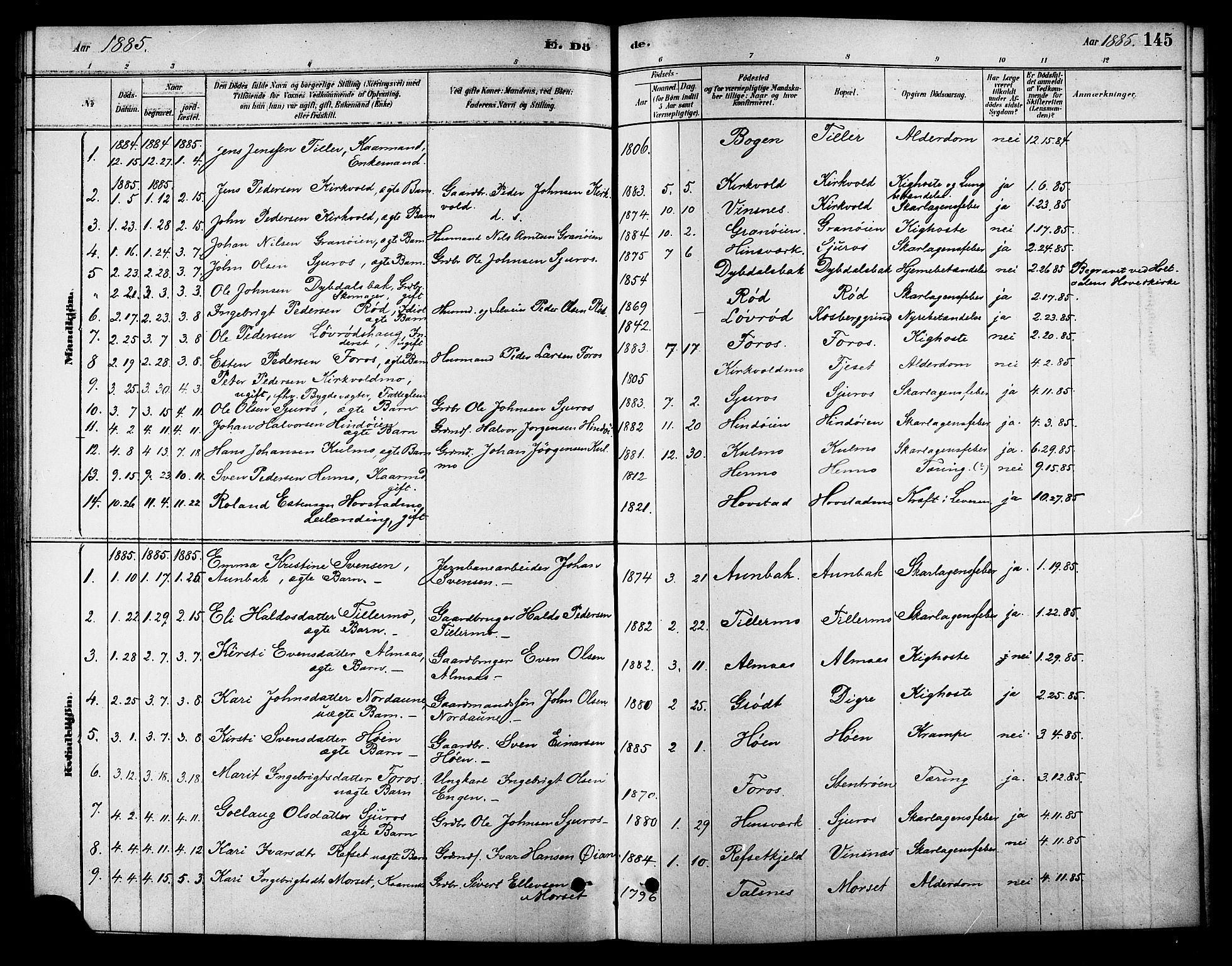 SAT, Ministerialprotokoller, klokkerbøker og fødselsregistre - Sør-Trøndelag, 688/L1024: Ministerialbok nr. 688A01, 1879-1890, s. 145