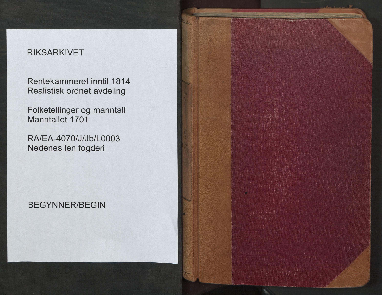 RA, Manntallet 1701, nr. 3: Nedenes fogderi, 1701