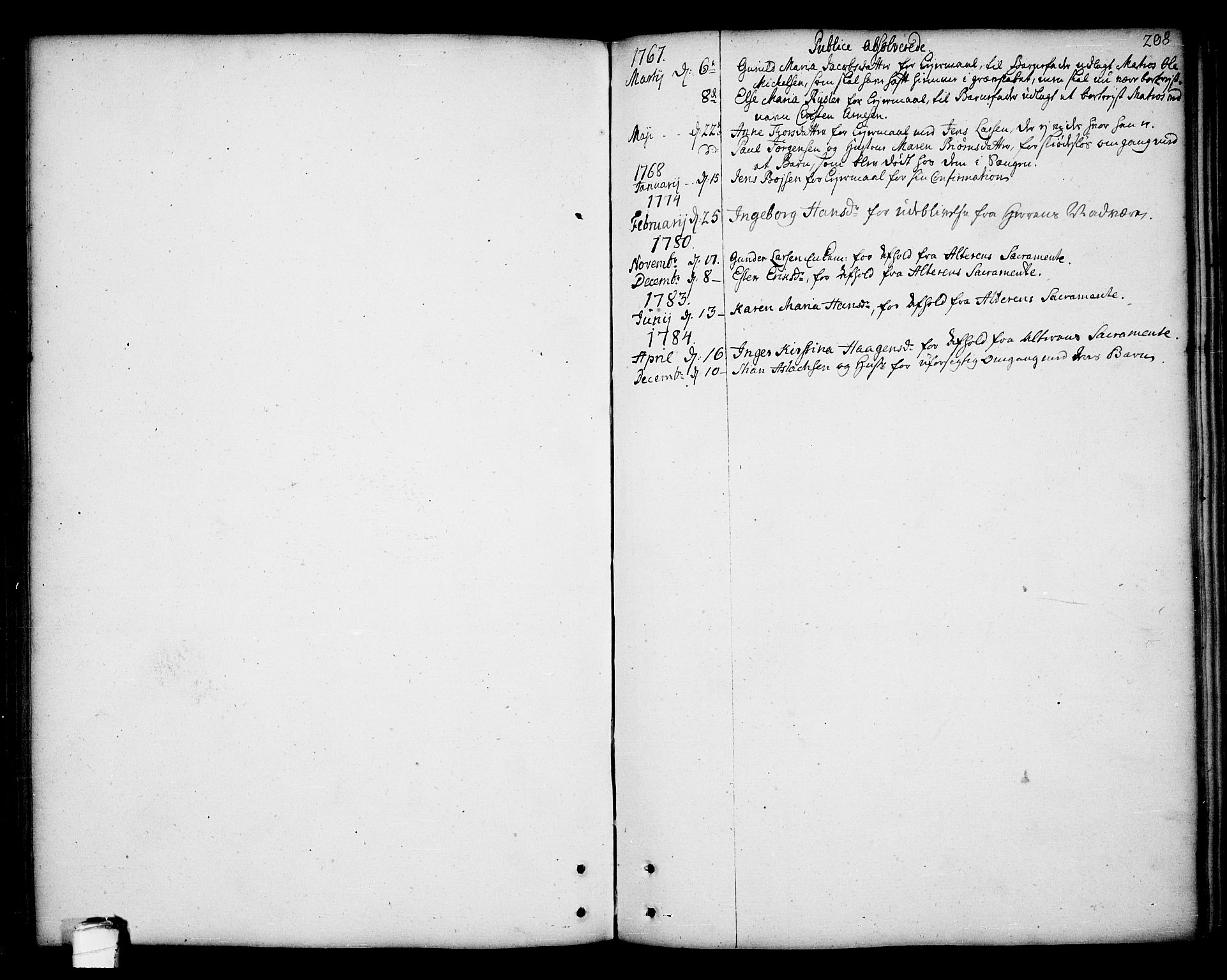 SAKO, Kragerø kirkebøker, F/Fa/L0002: Ministerialbok nr. 2, 1767-1802, s. 208