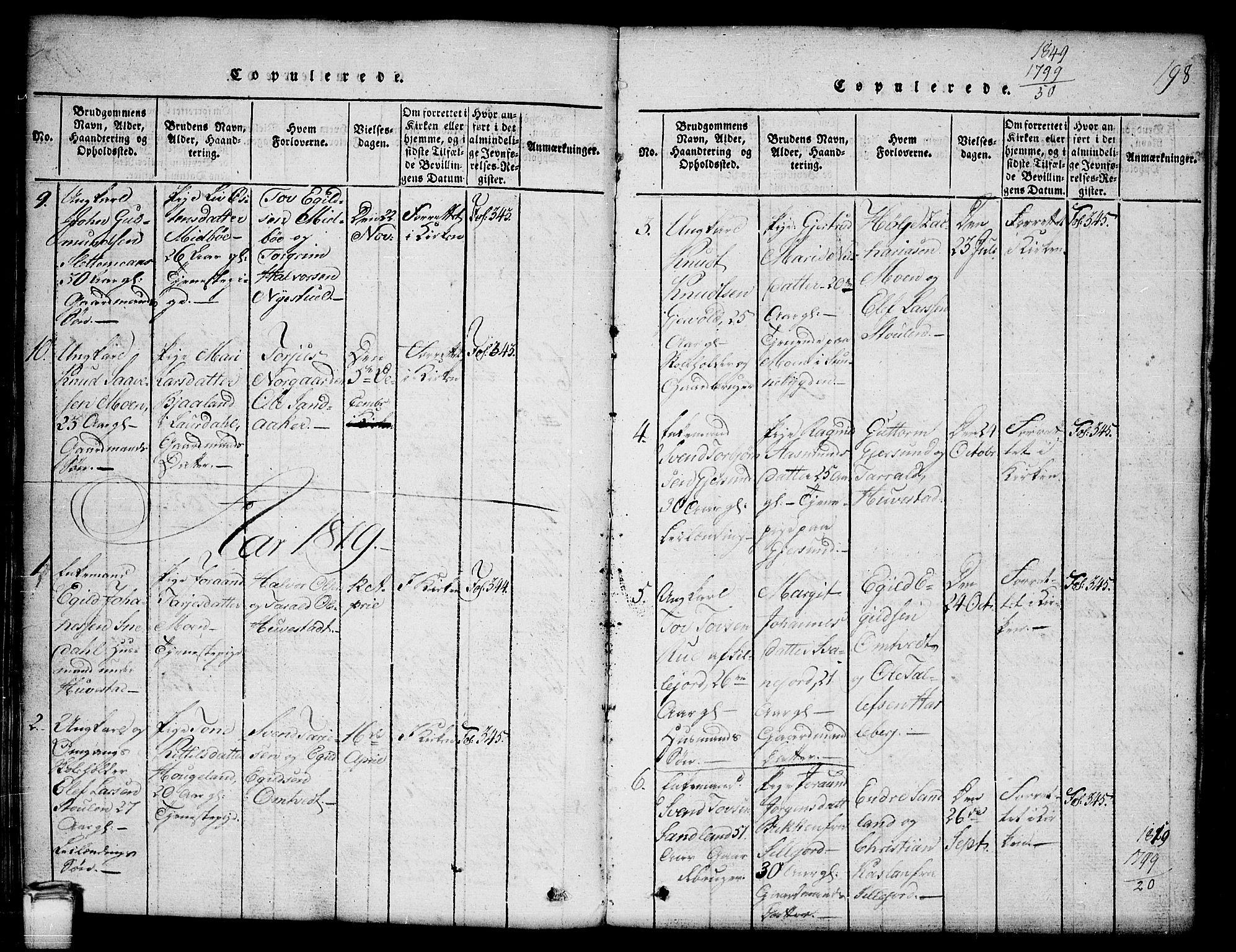 SAKO, Kviteseid kirkebøker, G/Gb/L0001: Klokkerbok nr. II 1, 1815-1842, s. 198