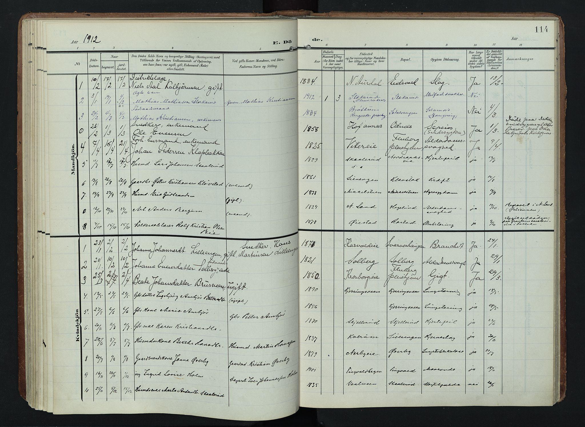 SAH, Søndre Land prestekontor, K/L0005: Ministerialbok nr. 5, 1905-1914, s. 114