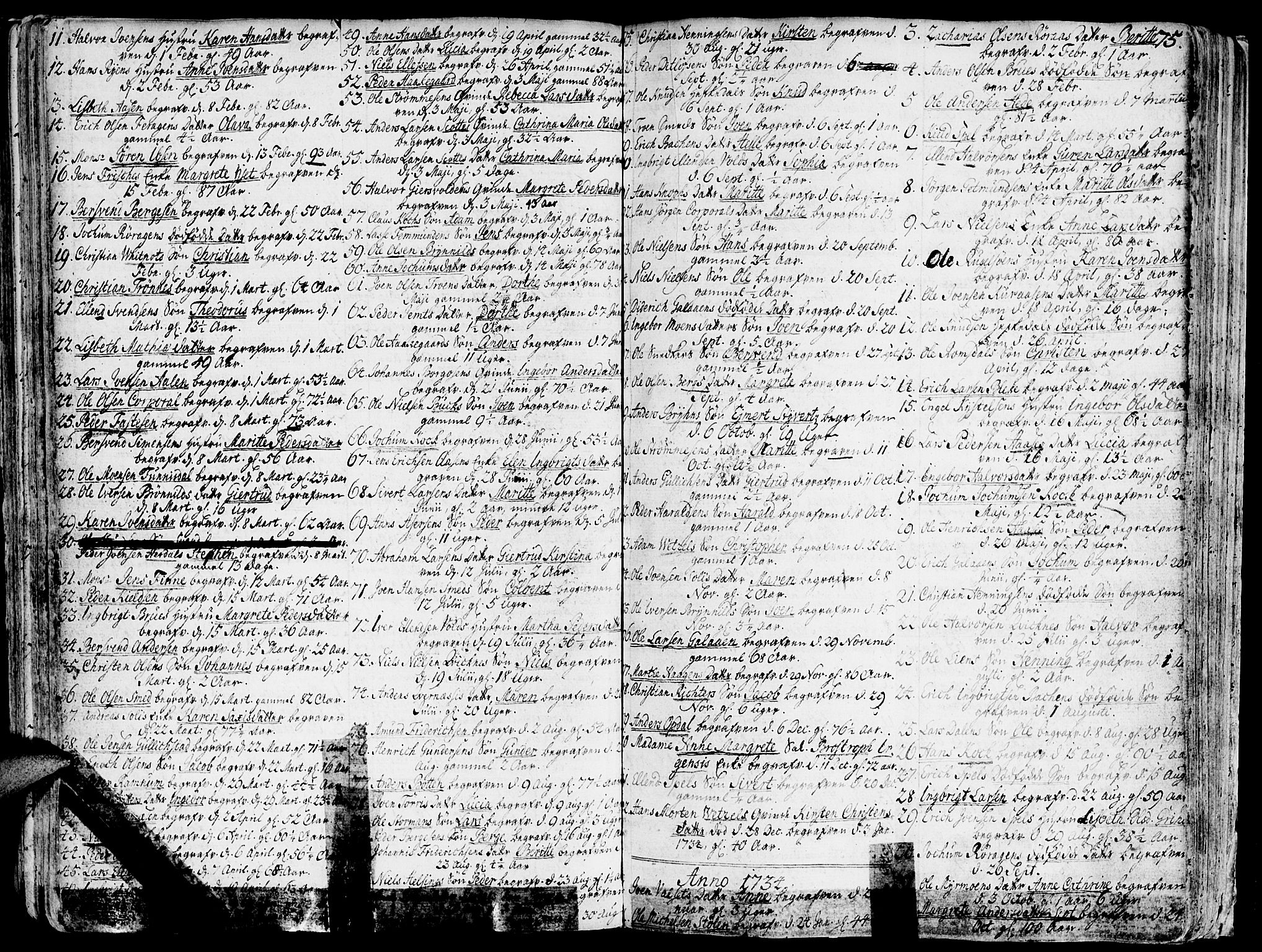 SAT, Ministerialprotokoller, klokkerbøker og fødselsregistre - Sør-Trøndelag, 681/L0925: Ministerialbok nr. 681A03, 1727-1766, s. 75