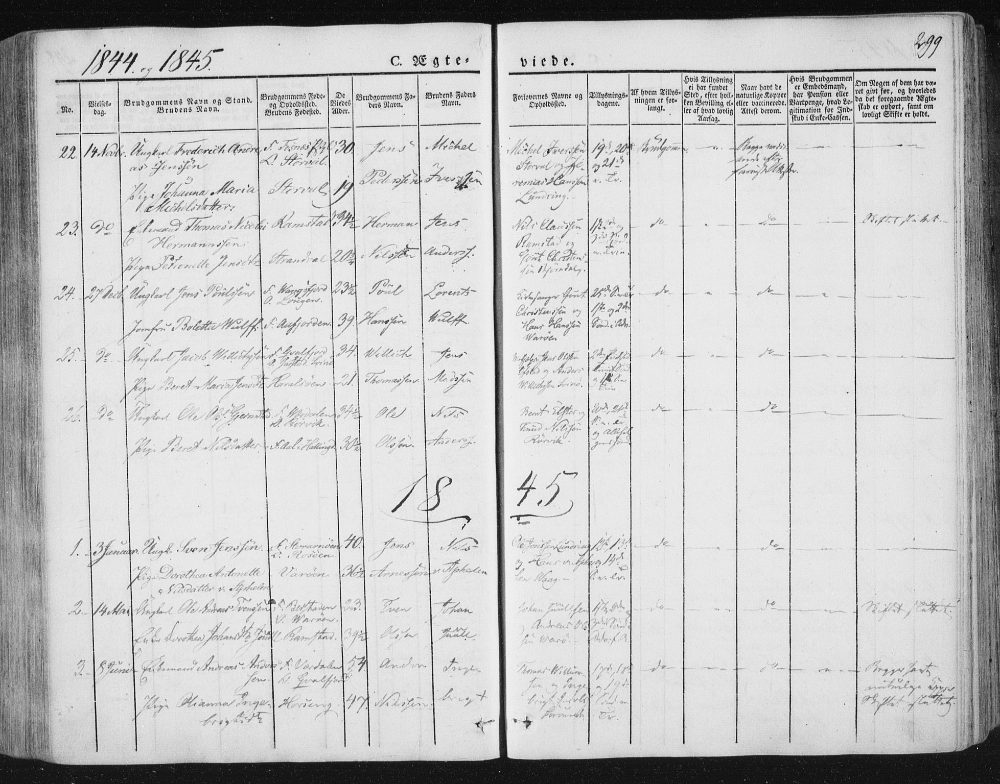 SAT, Ministerialprotokoller, klokkerbøker og fødselsregistre - Nord-Trøndelag, 784/L0669: Ministerialbok nr. 784A04, 1829-1859, s. 299