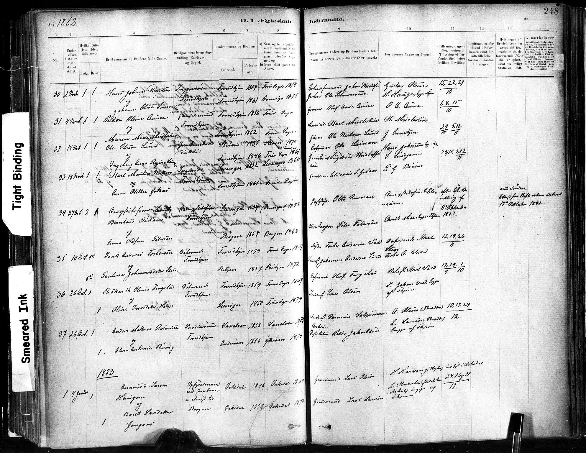 SAT, Ministerialprotokoller, klokkerbøker og fødselsregistre - Sør-Trøndelag, 602/L0119: Ministerialbok nr. 602A17, 1880-1901, s. 248