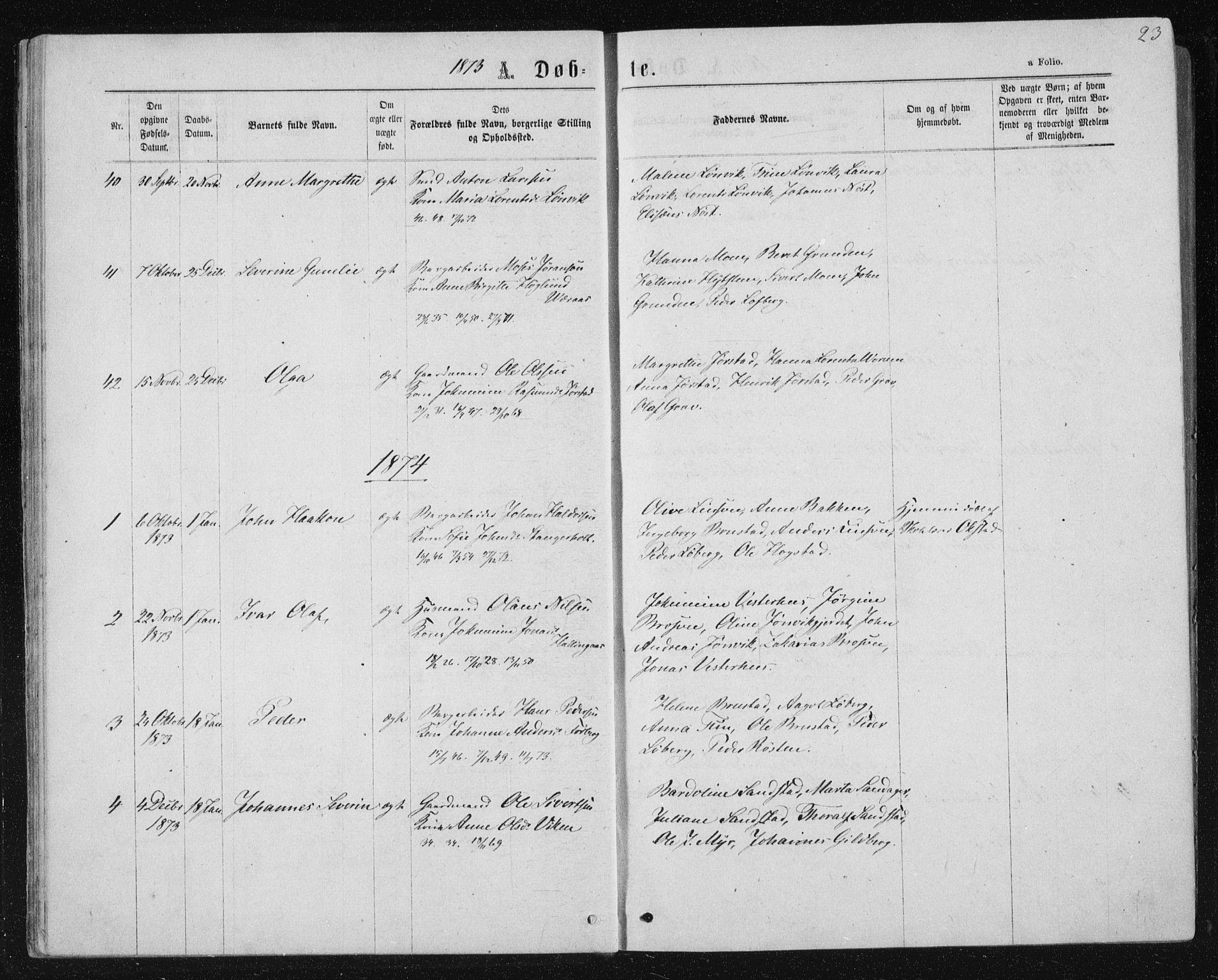 SAT, Ministerialprotokoller, klokkerbøker og fødselsregistre - Nord-Trøndelag, 722/L0219: Ministerialbok nr. 722A06, 1868-1880, s. 23