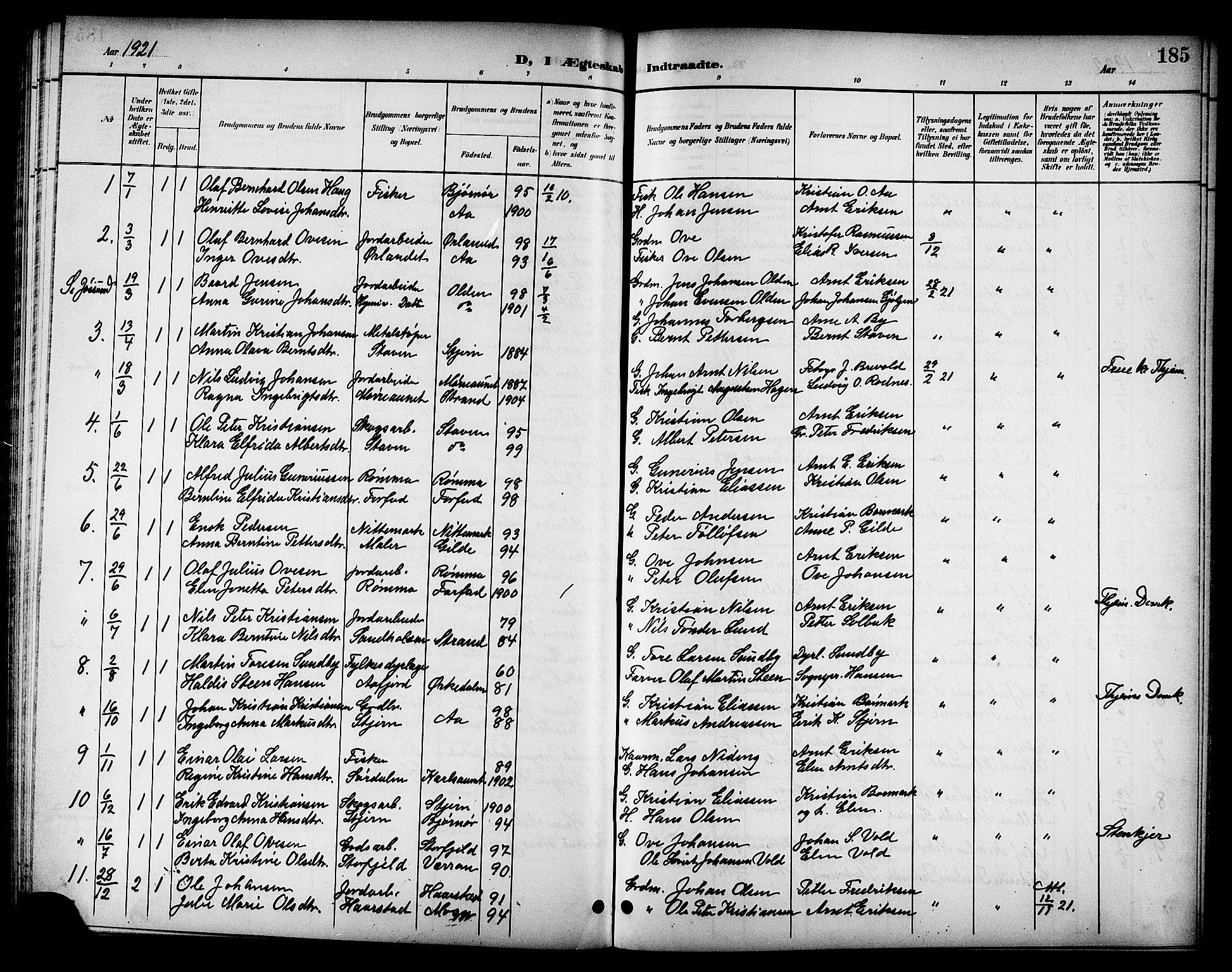 SAT, Ministerialprotokoller, klokkerbøker og fødselsregistre - Sør-Trøndelag, 655/L0688: Klokkerbok nr. 655C04, 1899-1922, s. 185