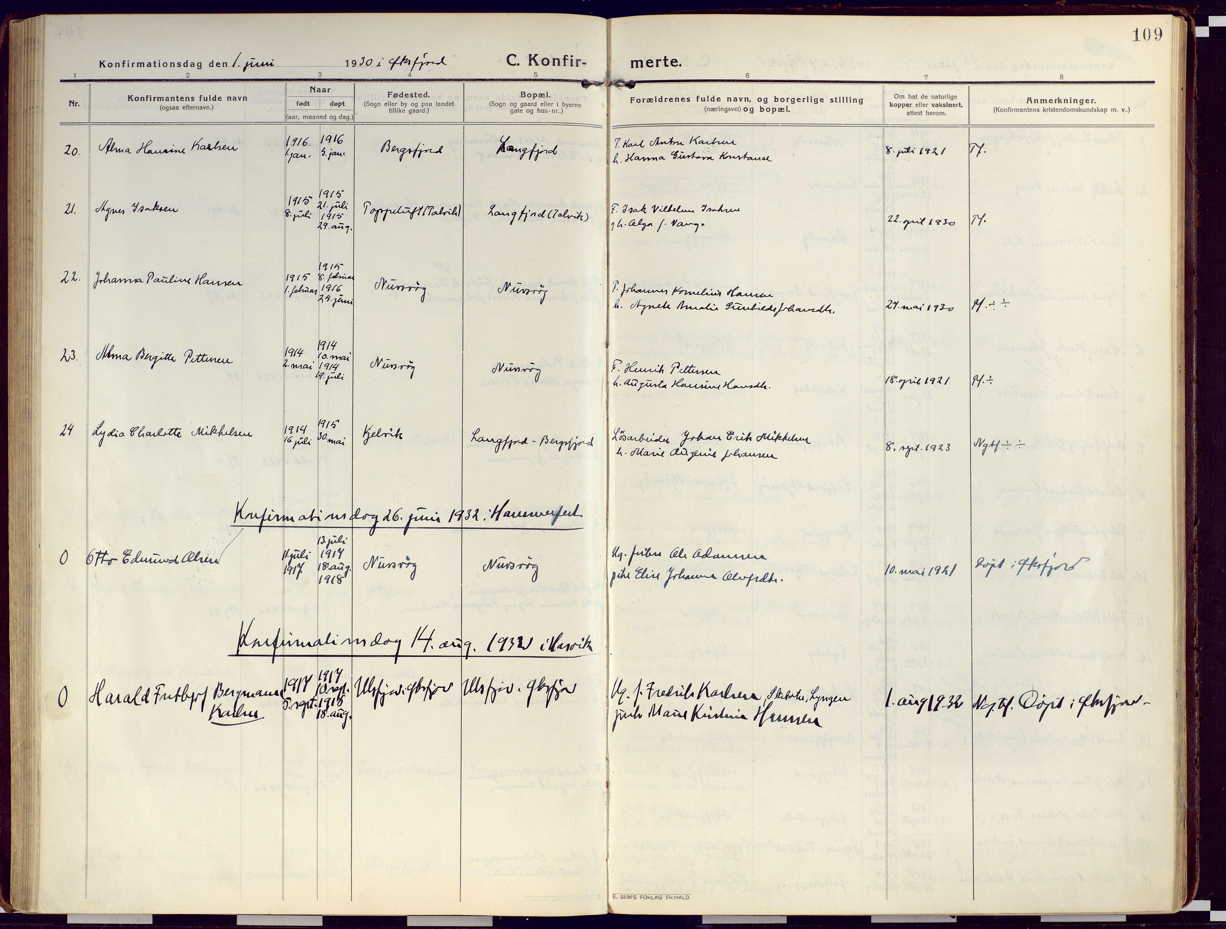 SATØ, Loppa sokneprestkontor, H/Ha/L0012kirke: Ministerialbok nr. 12, 1917-1932, s. 109
