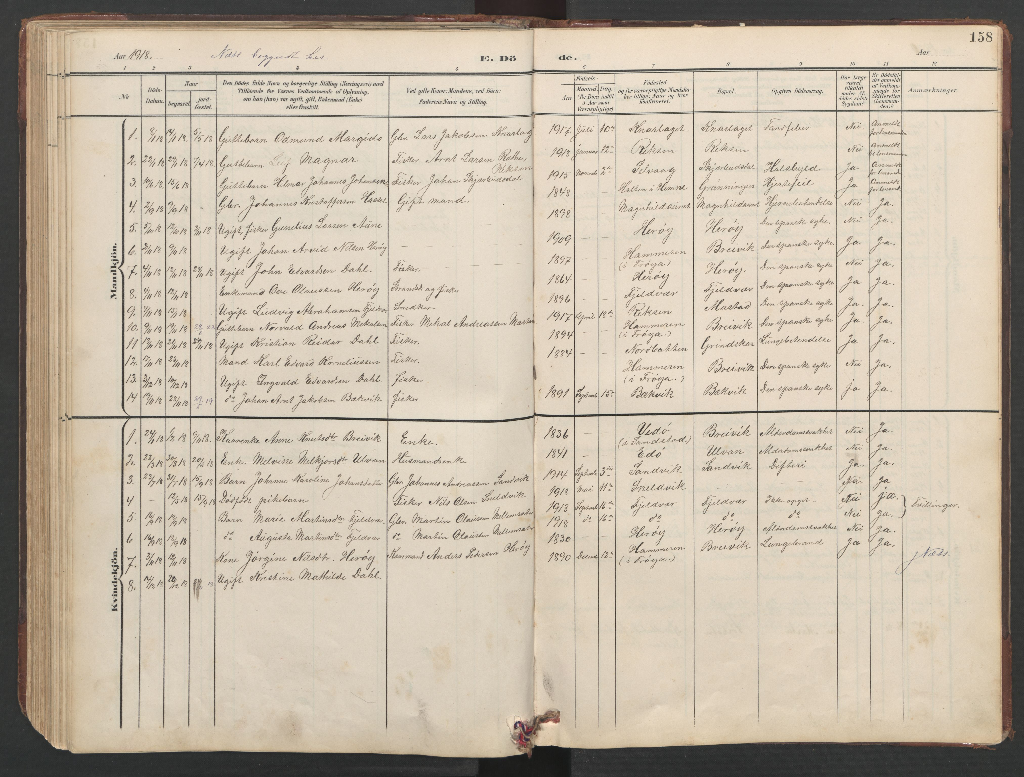 SAT, Ministerialprotokoller, klokkerbøker og fødselsregistre - Sør-Trøndelag, 638/L0571: Klokkerbok nr. 638C03, 1901-1930, s. 158