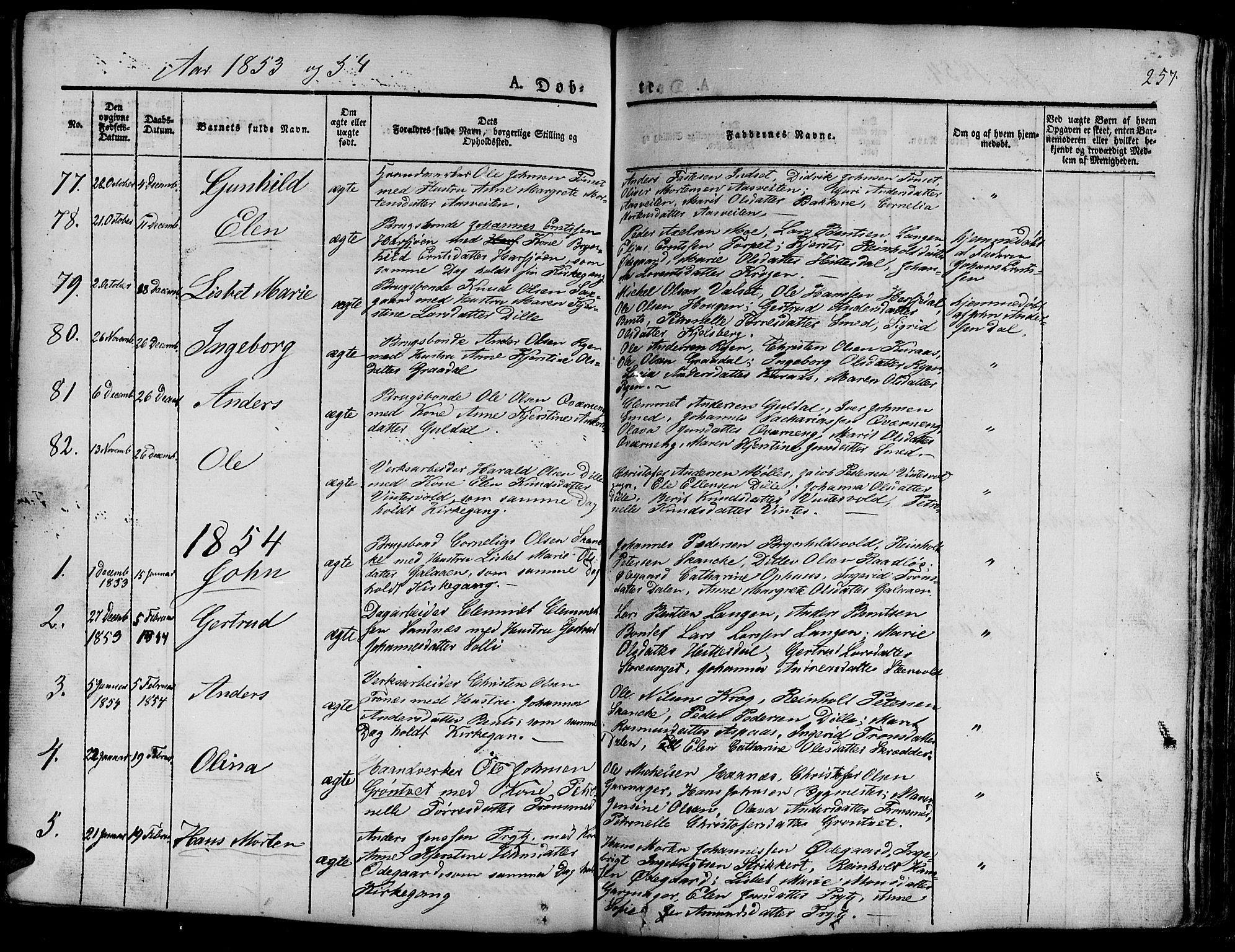 SAT, Ministerialprotokoller, klokkerbøker og fødselsregistre - Sør-Trøndelag, 681/L0938: Klokkerbok nr. 681C02, 1829-1879, s. 257