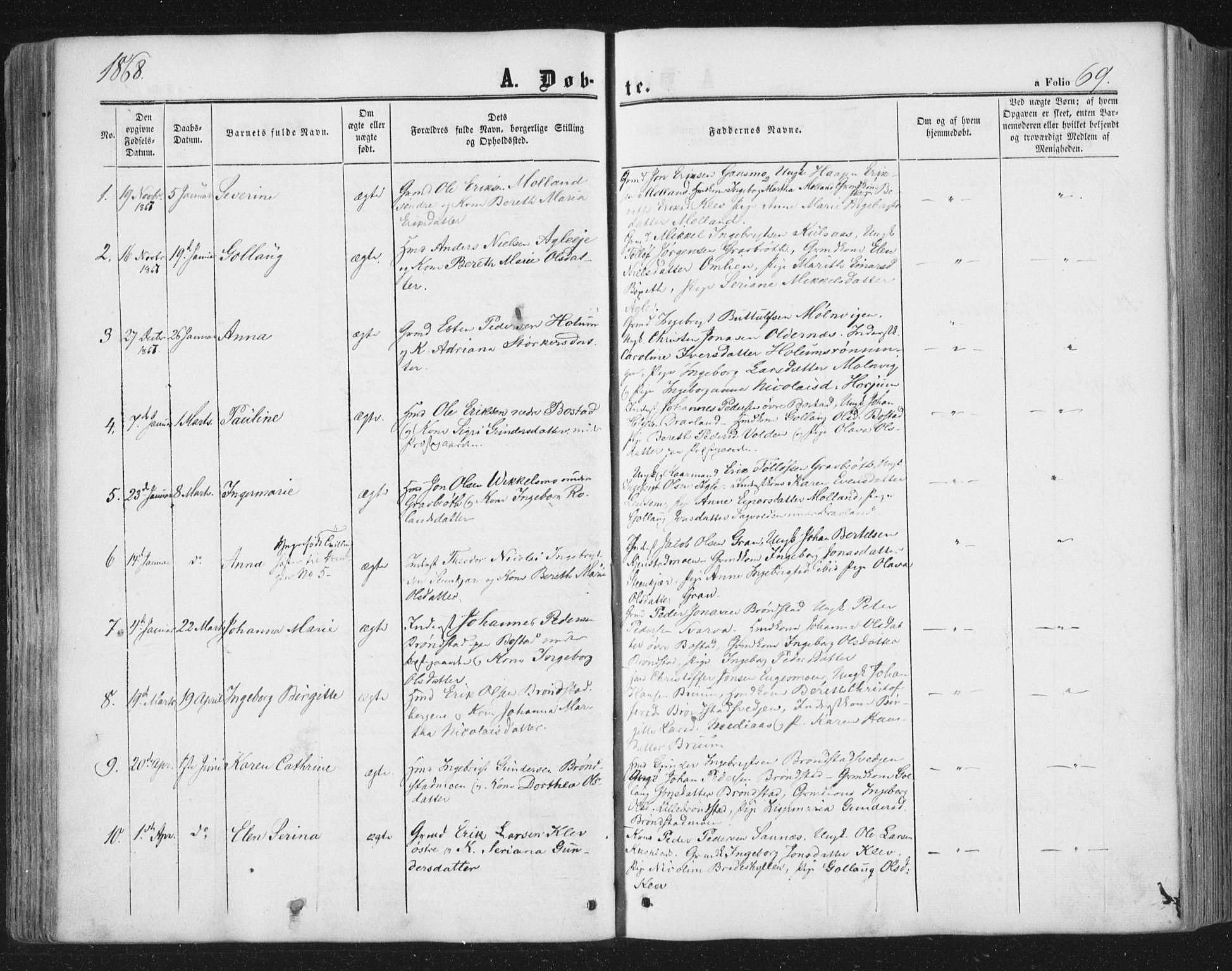SAT, Ministerialprotokoller, klokkerbøker og fødselsregistre - Nord-Trøndelag, 749/L0472: Ministerialbok nr. 749A06, 1857-1873, s. 69