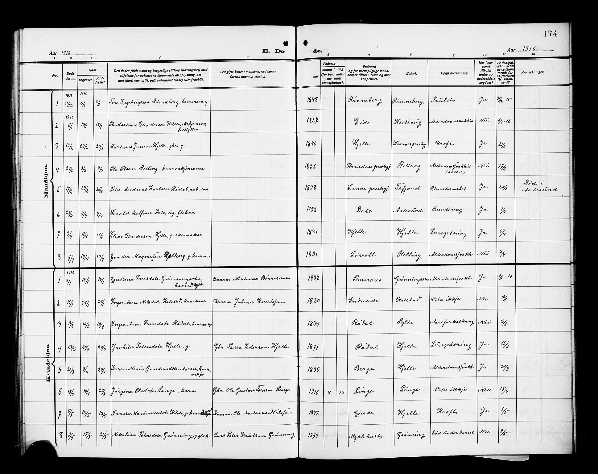 SAT, Ministerialprotokoller, klokkerbøker og fødselsregistre - Møre og Romsdal, 519/L0265: Klokkerbok nr. 519C06, 1911-1921, s. 174