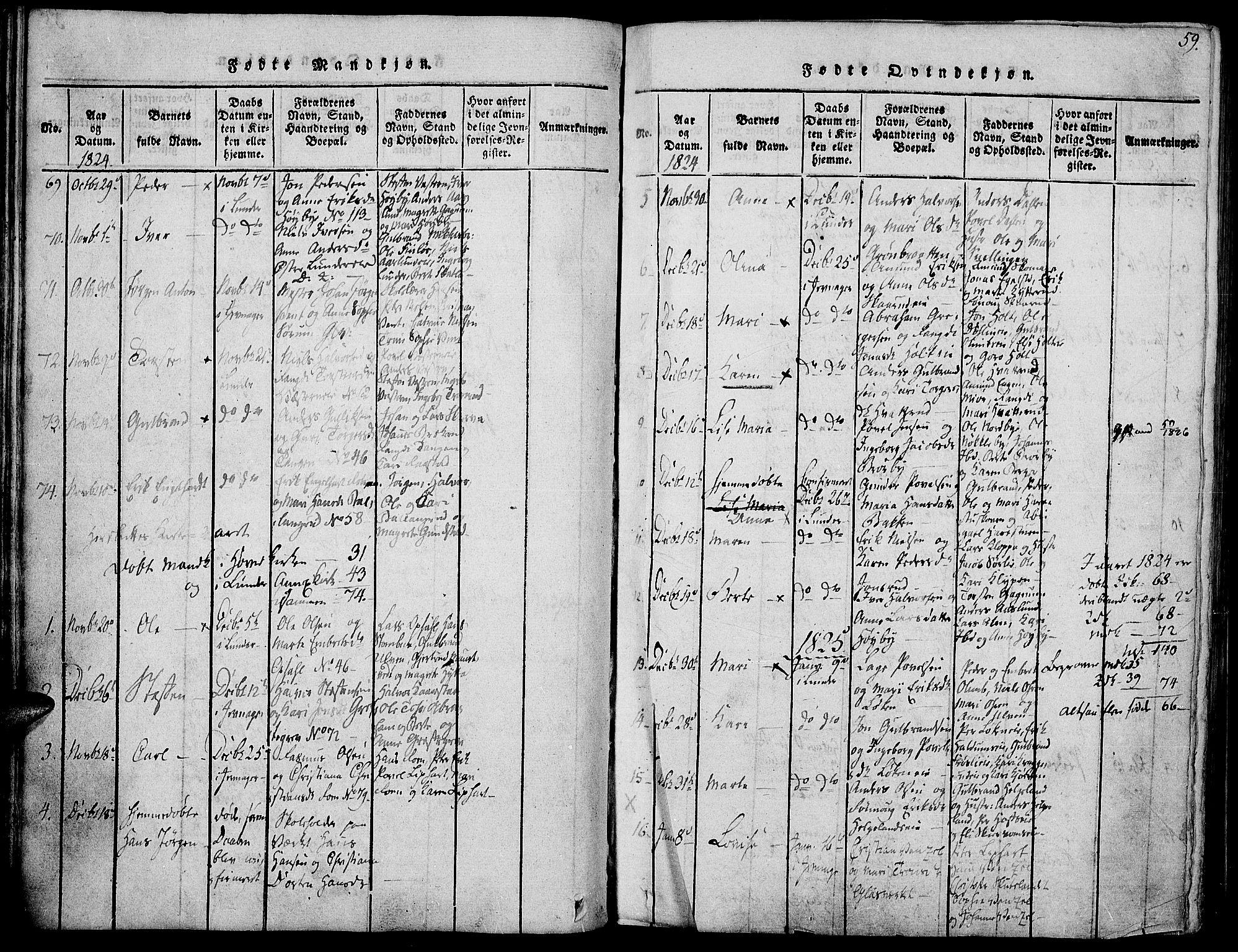 SAH, Jevnaker prestekontor, Ministerialbok nr. 5, 1815-1837, s. 59