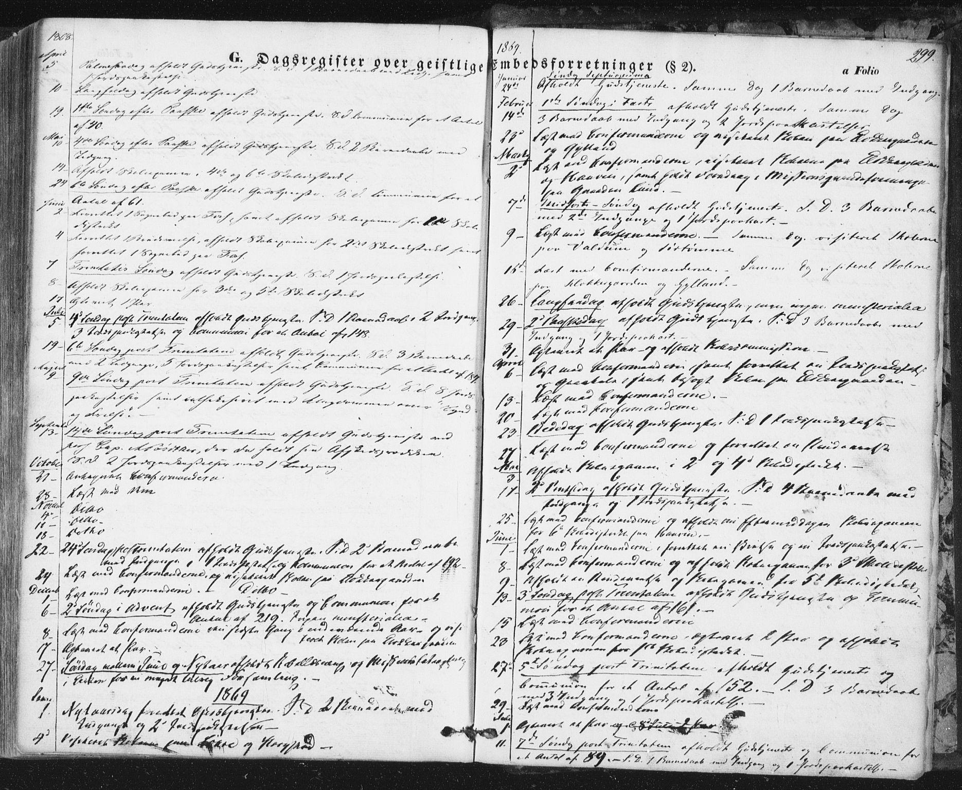 SAT, Ministerialprotokoller, klokkerbøker og fødselsregistre - Sør-Trøndelag, 692/L1103: Ministerialbok nr. 692A03, 1849-1870, s. 299