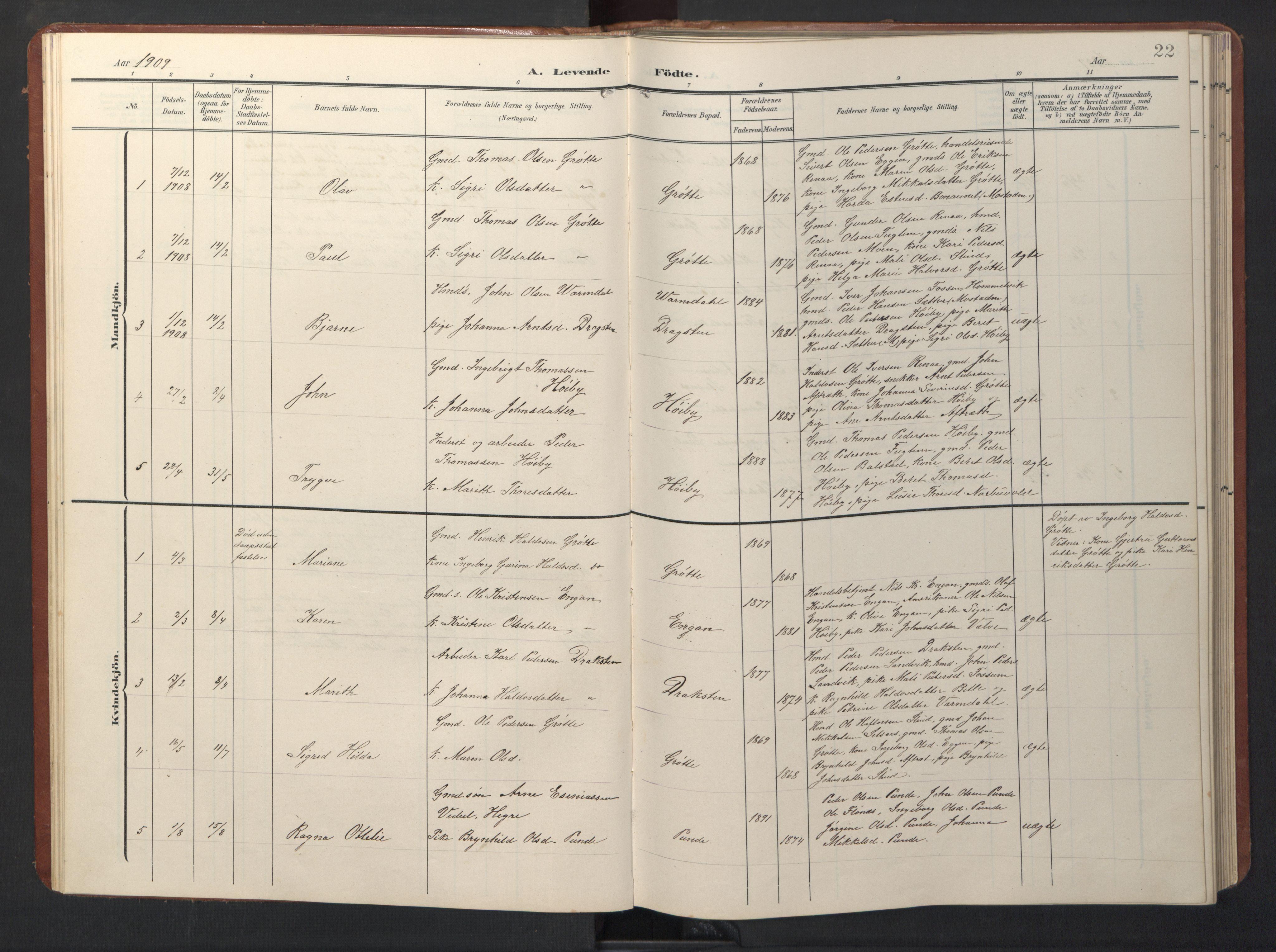 SAT, Ministerialprotokoller, klokkerbøker og fødselsregistre - Sør-Trøndelag, 696/L1161: Klokkerbok nr. 696C01, 1902-1950, s. 22