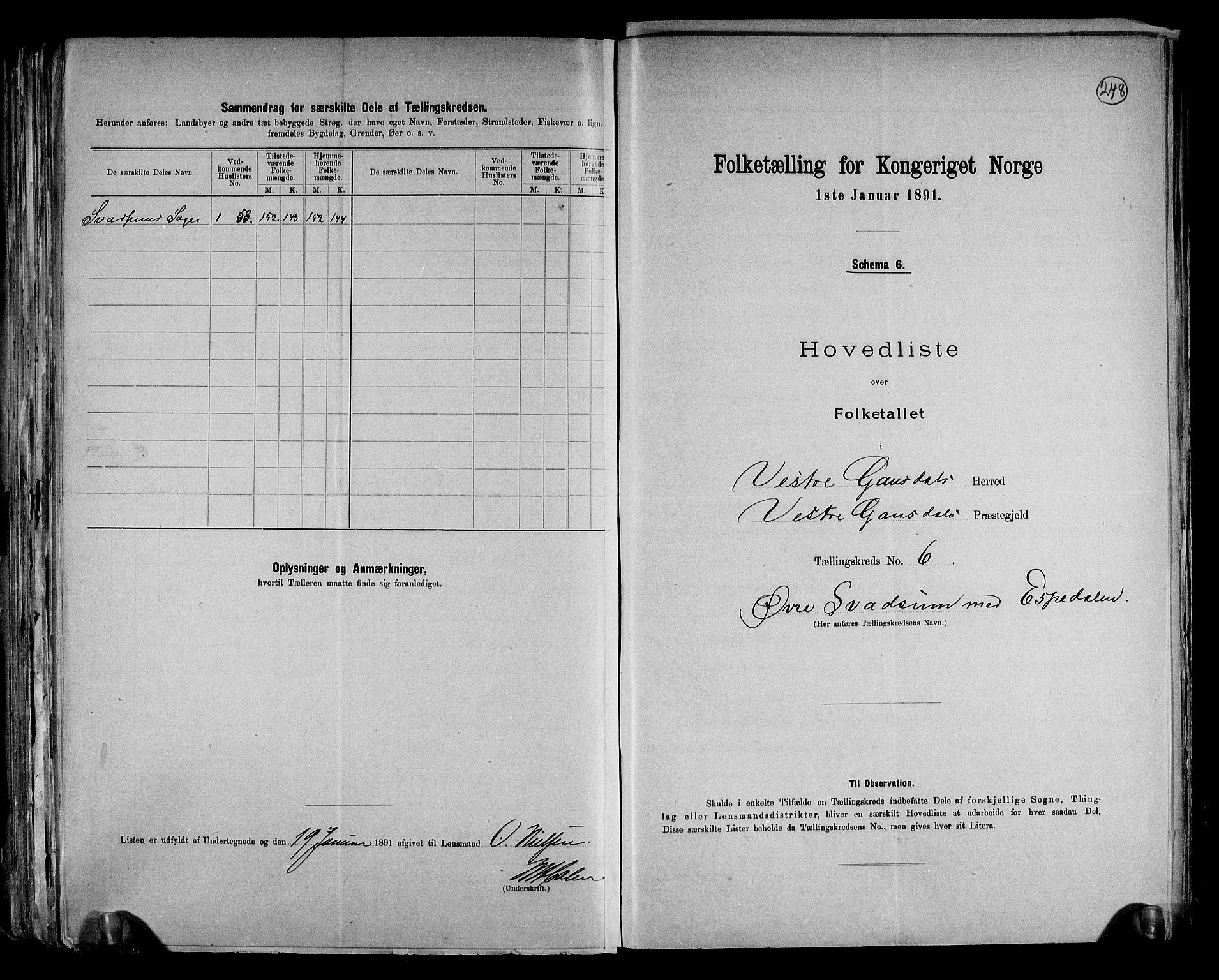 RA, Folketelling 1891 for 0523 Vestre Gausdal herred, 1891, s. 21
