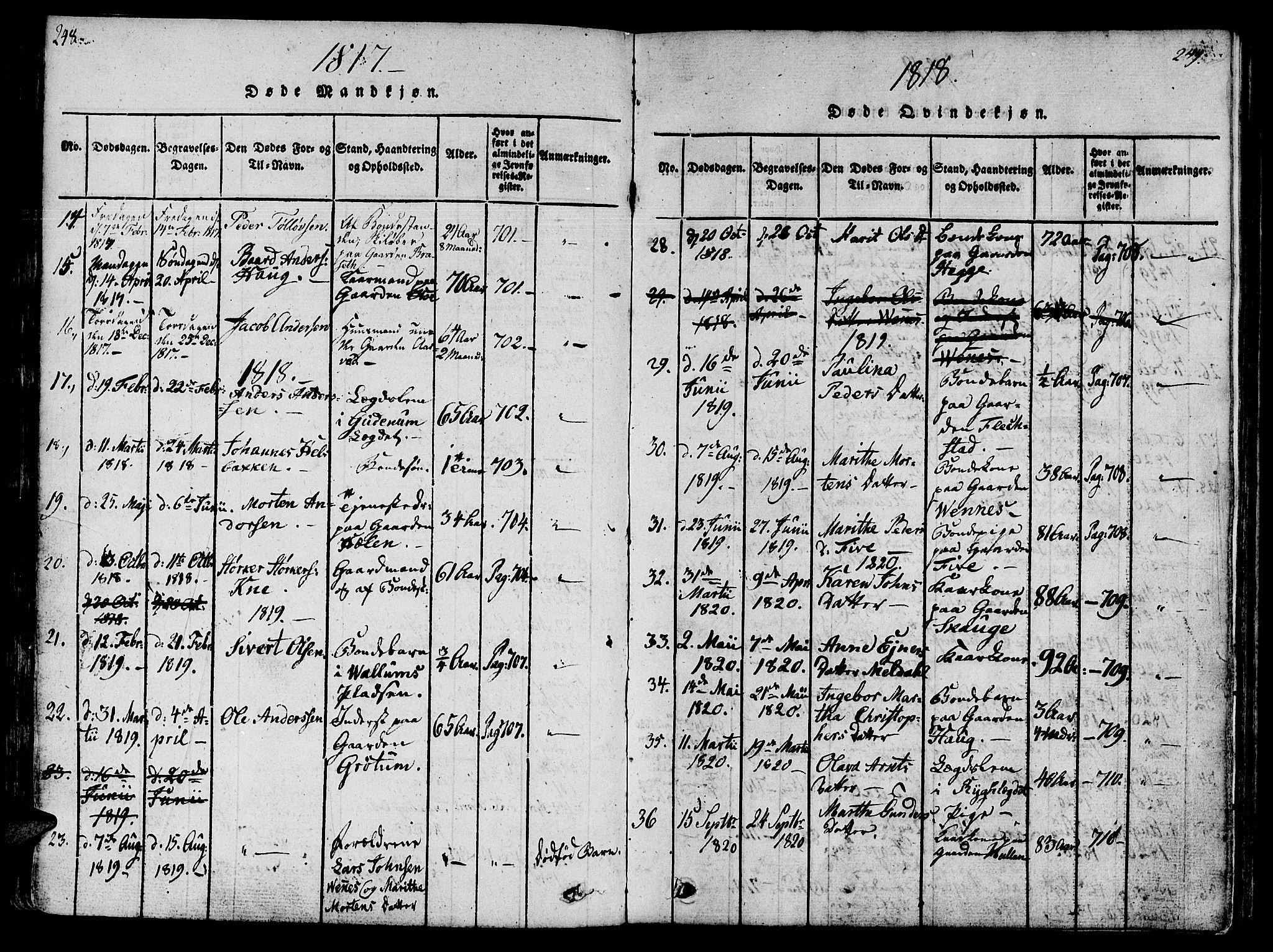 SAT, Ministerialprotokoller, klokkerbøker og fødselsregistre - Nord-Trøndelag, 746/L0441: Ministerialbok nr. 746A03 /2, 1816-1827, s. 148-149