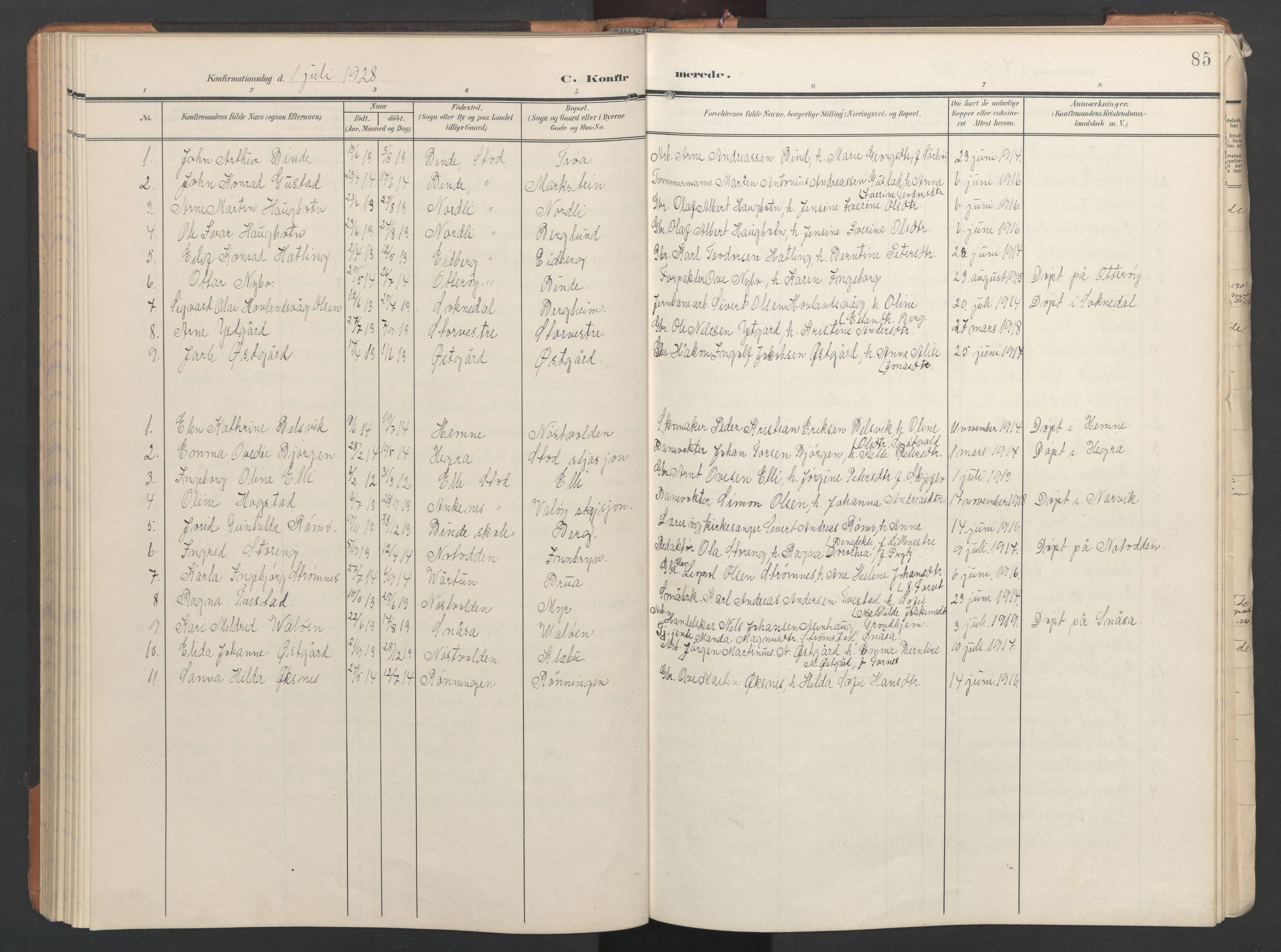 SAT, Ministerialprotokoller, klokkerbøker og fødselsregistre - Nord-Trøndelag, 746/L0455: Klokkerbok nr. 746C01, 1908-1933, s. 85
