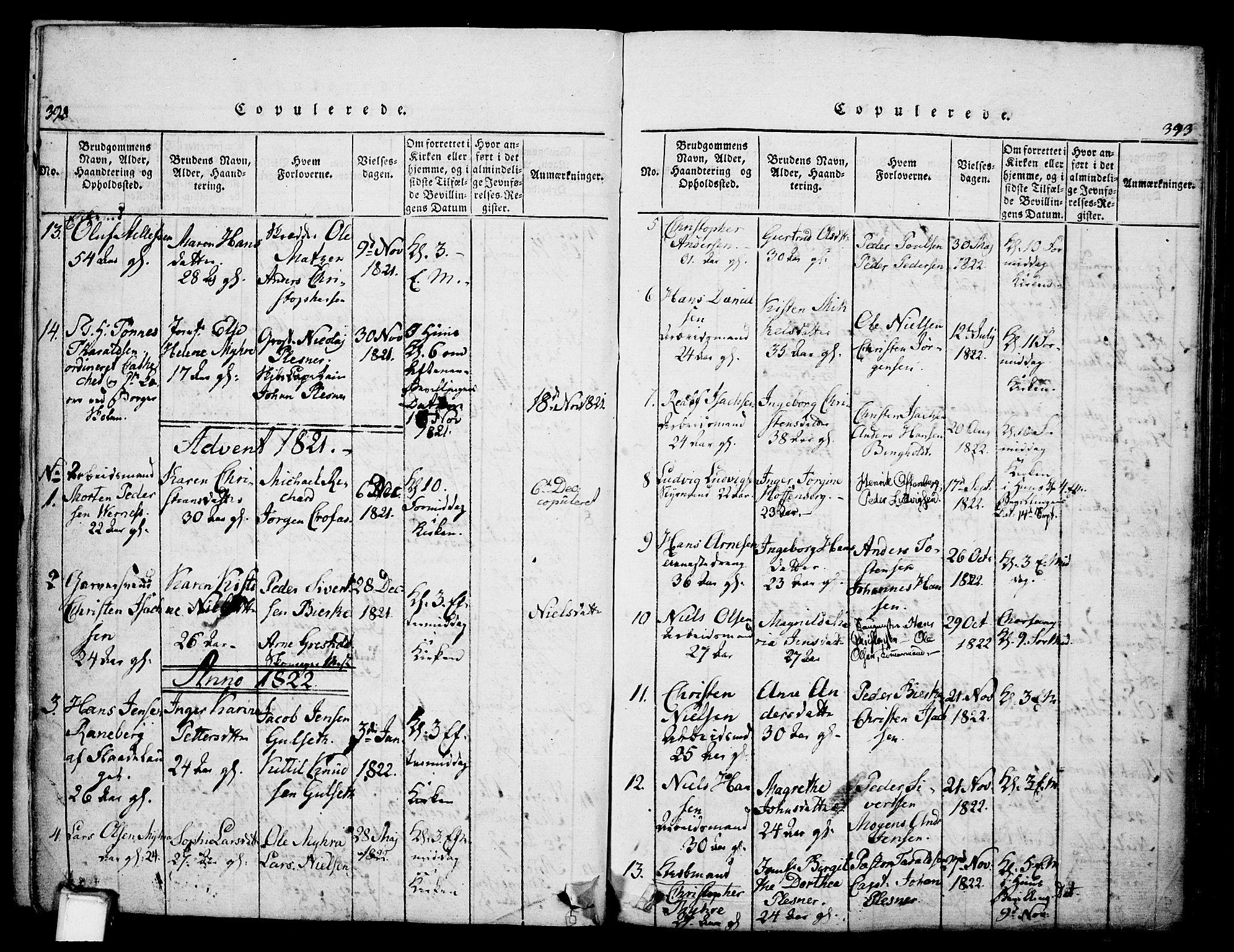 SAKO, Skien kirkebøker, G/Ga/L0002: Klokkerbok nr. 2, 1814-1842, s. 392-393