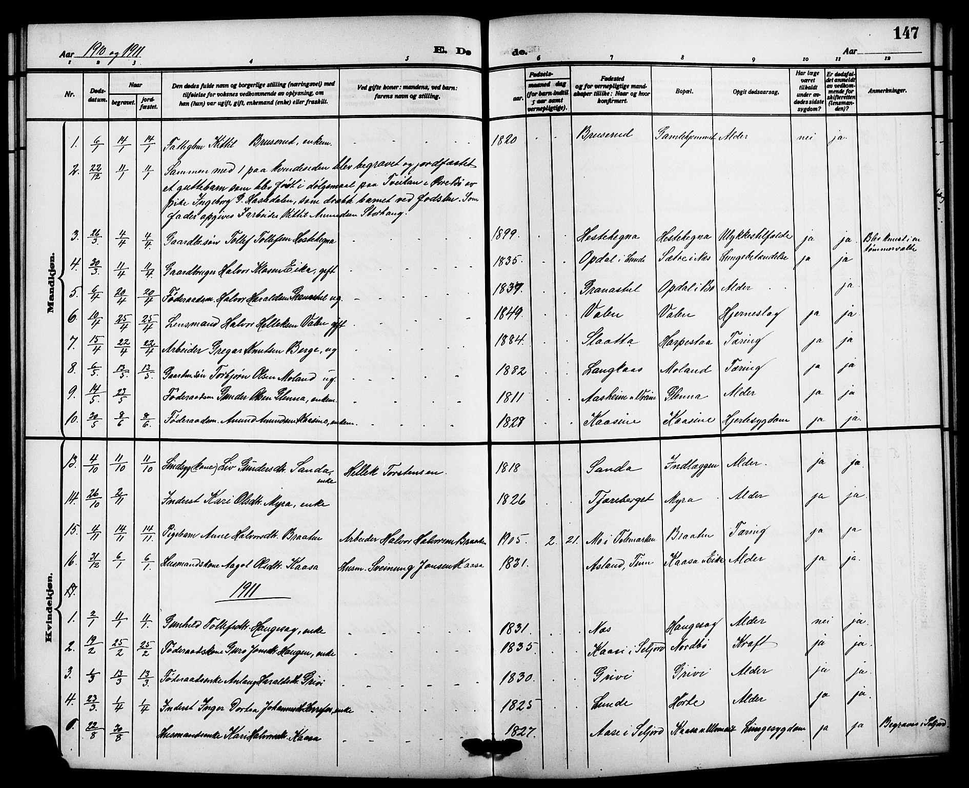 SAKO, Bø kirkebøker, G/Ga/L0007: Klokkerbok nr. 7, 1909-1924, s. 147