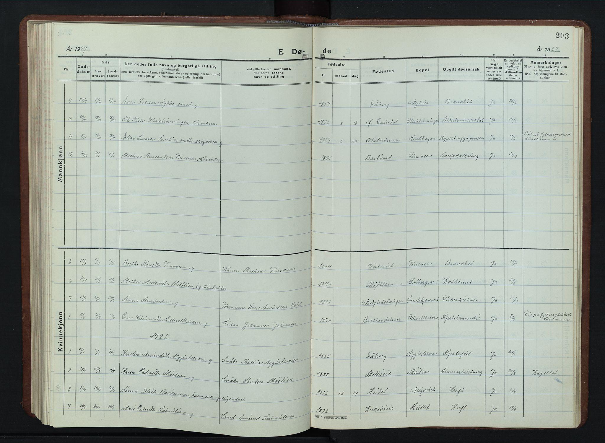 SAH, Vestre Gausdal prestekontor, Klokkerbok nr. 5, 1926-1955, s. 203